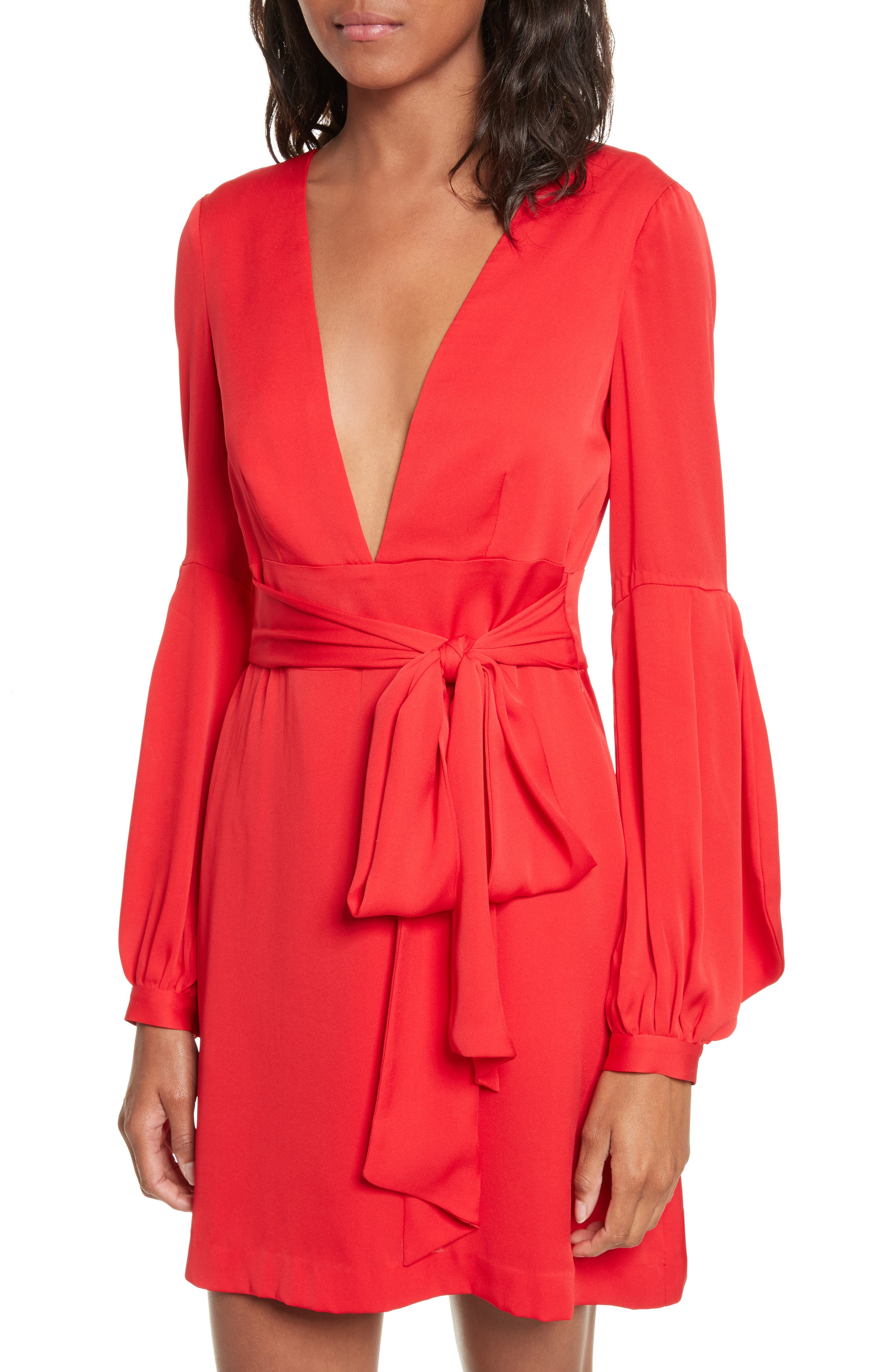 Kayla Deep V-Neck Stretch Silk Dress,                             Alternate thumbnail 4, color,                             Lipstick