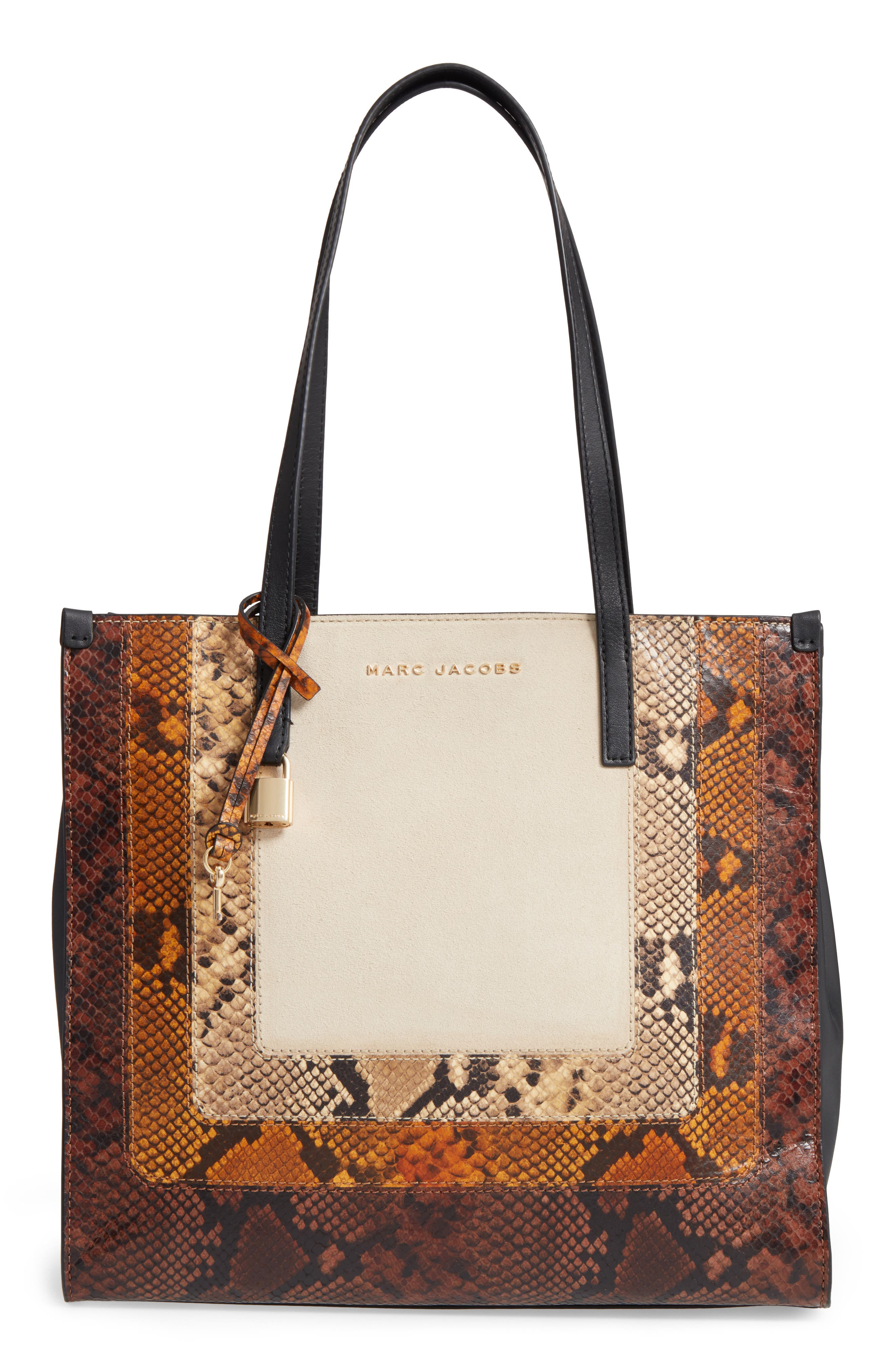 The Snake Grind Leather Tote,                             Main thumbnail 1, color,                             Papyrus Multi