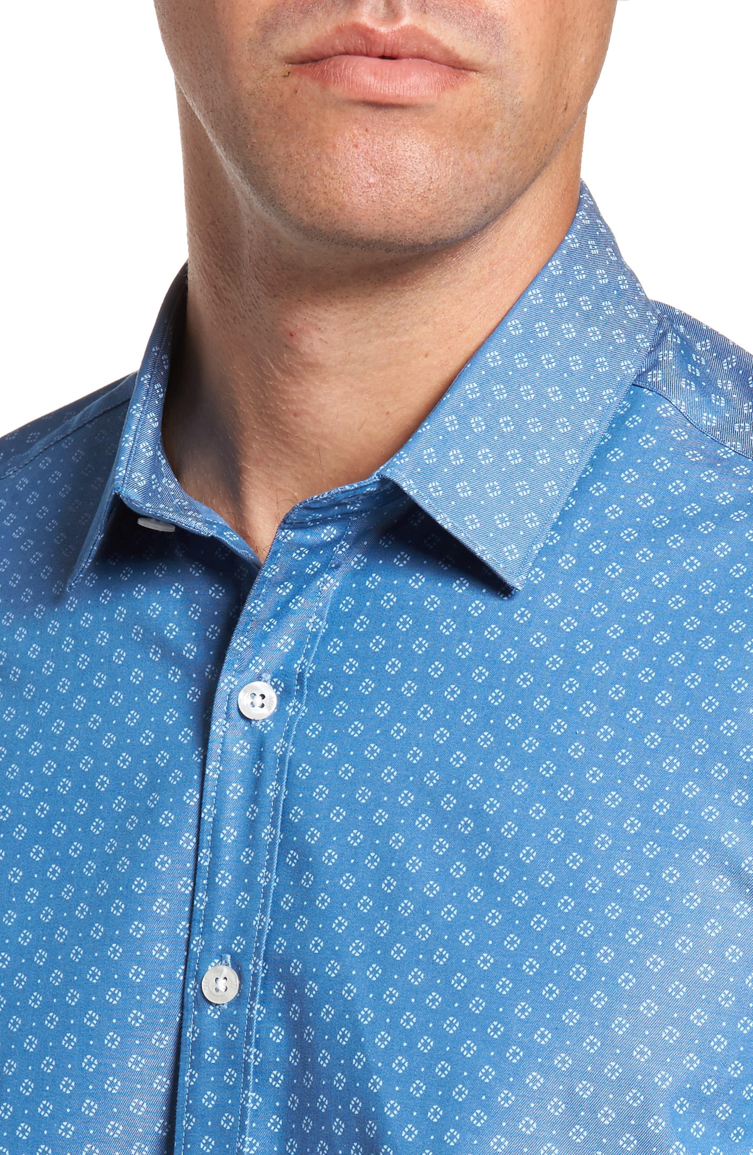 Camden Slim Fit Micro Print Sport Shirt,                             Alternate thumbnail 4, color,                             Blue