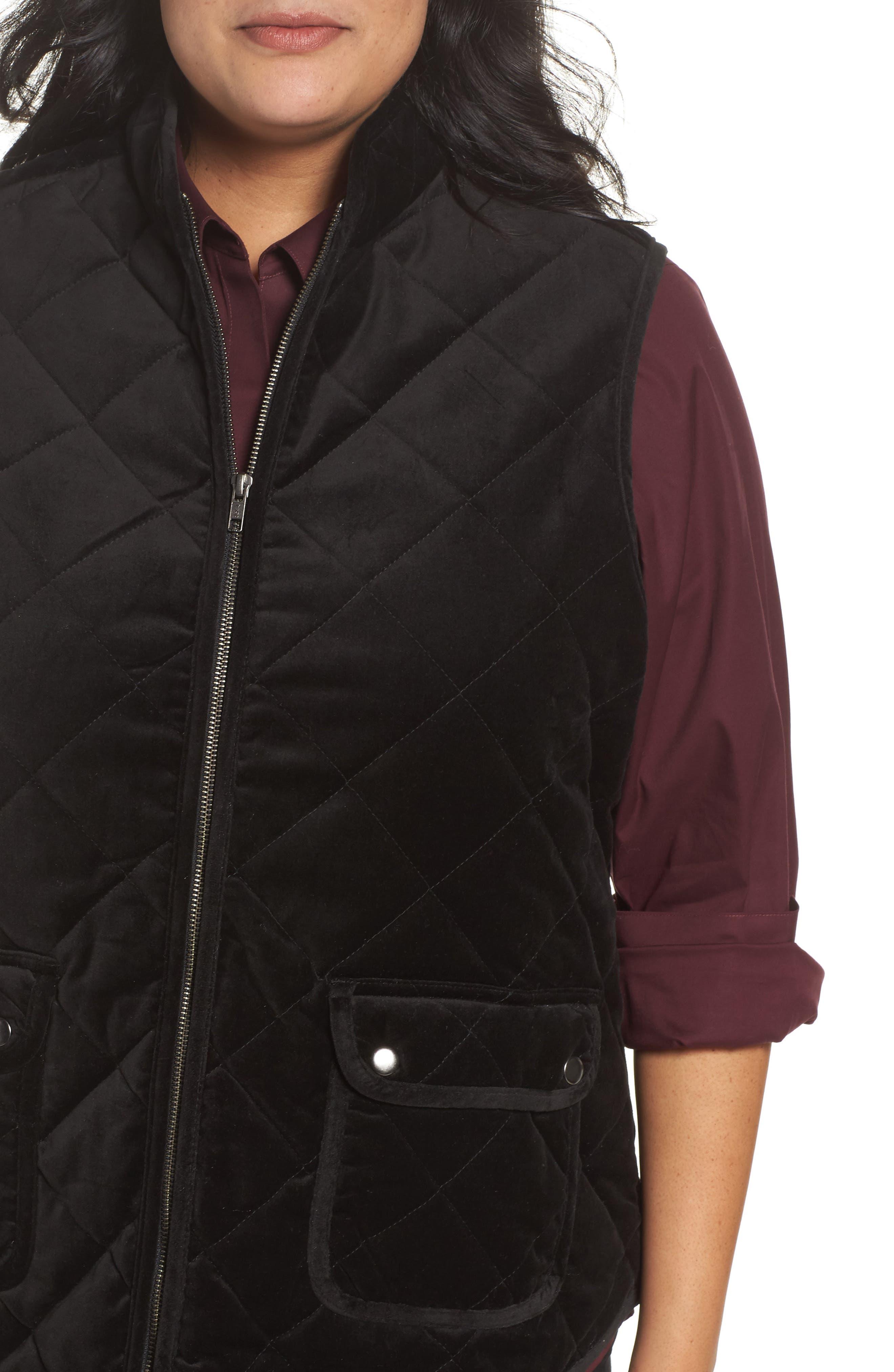 Lena Quilted Velvet Vest,                             Alternate thumbnail 4, color,                             Black