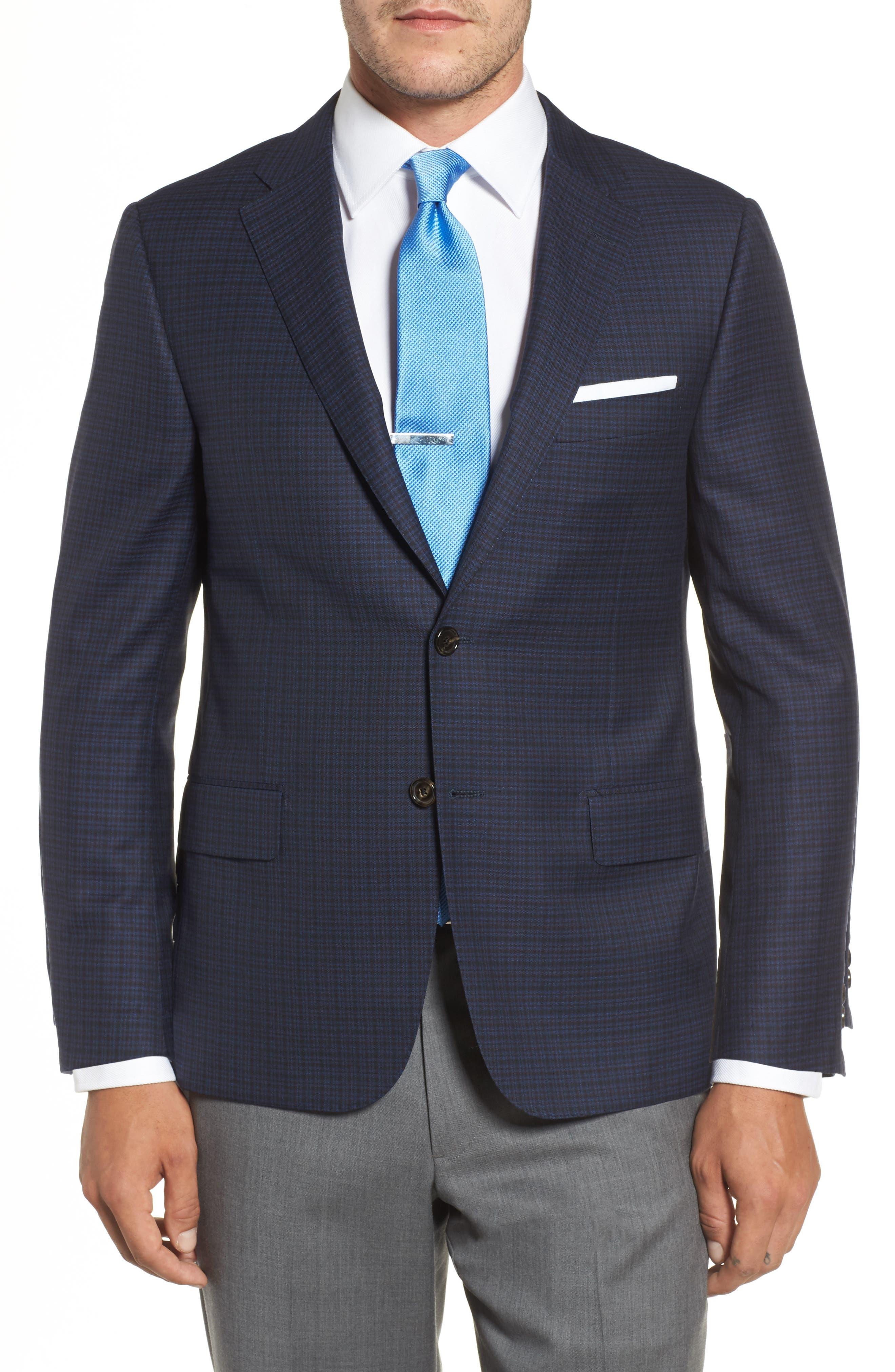 Classic B Fit Check Wool Sport Coat,                             Main thumbnail 1, color,                             Navy