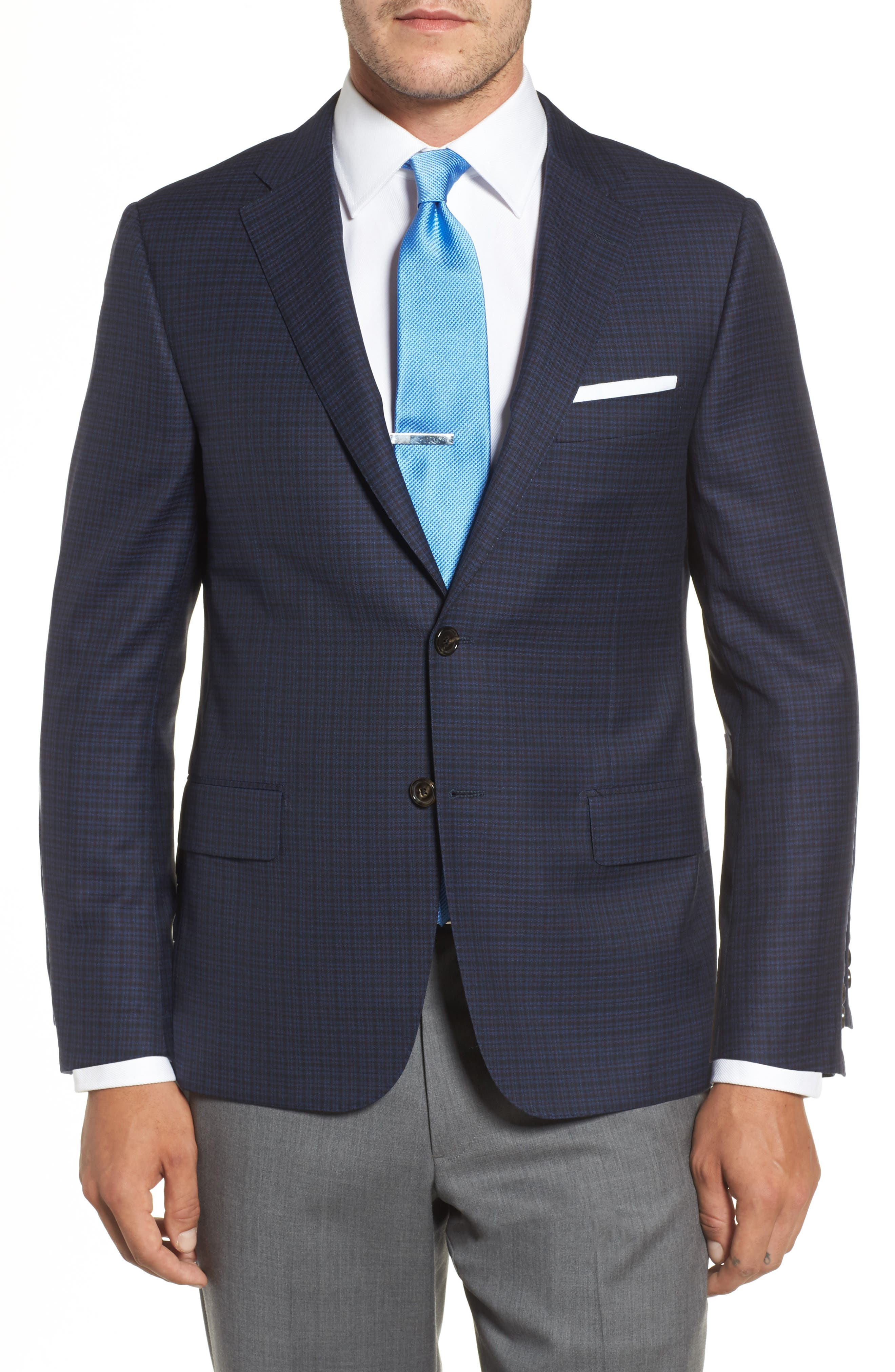 Classic B Fit Check Wool Sport Coat,                         Main,                         color, Navy