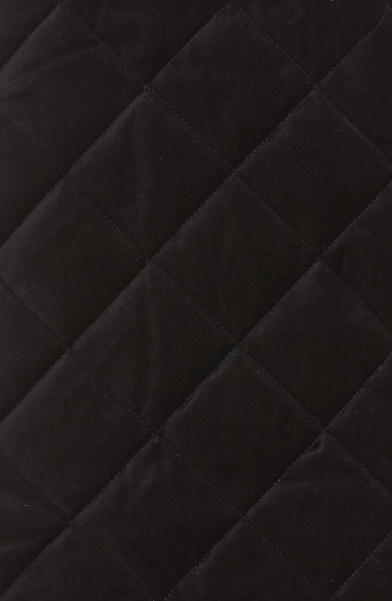 Lena Quilted Velvet Vest,                             Alternate thumbnail 5, color,                             Black