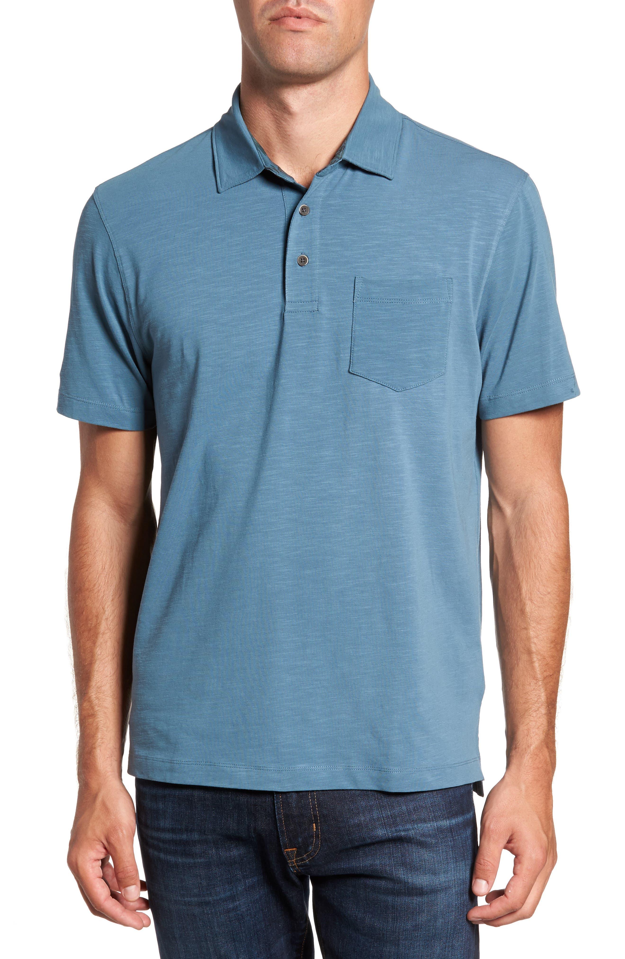 Stretch Slub Jersey Polo,                         Main,                         color, Teal