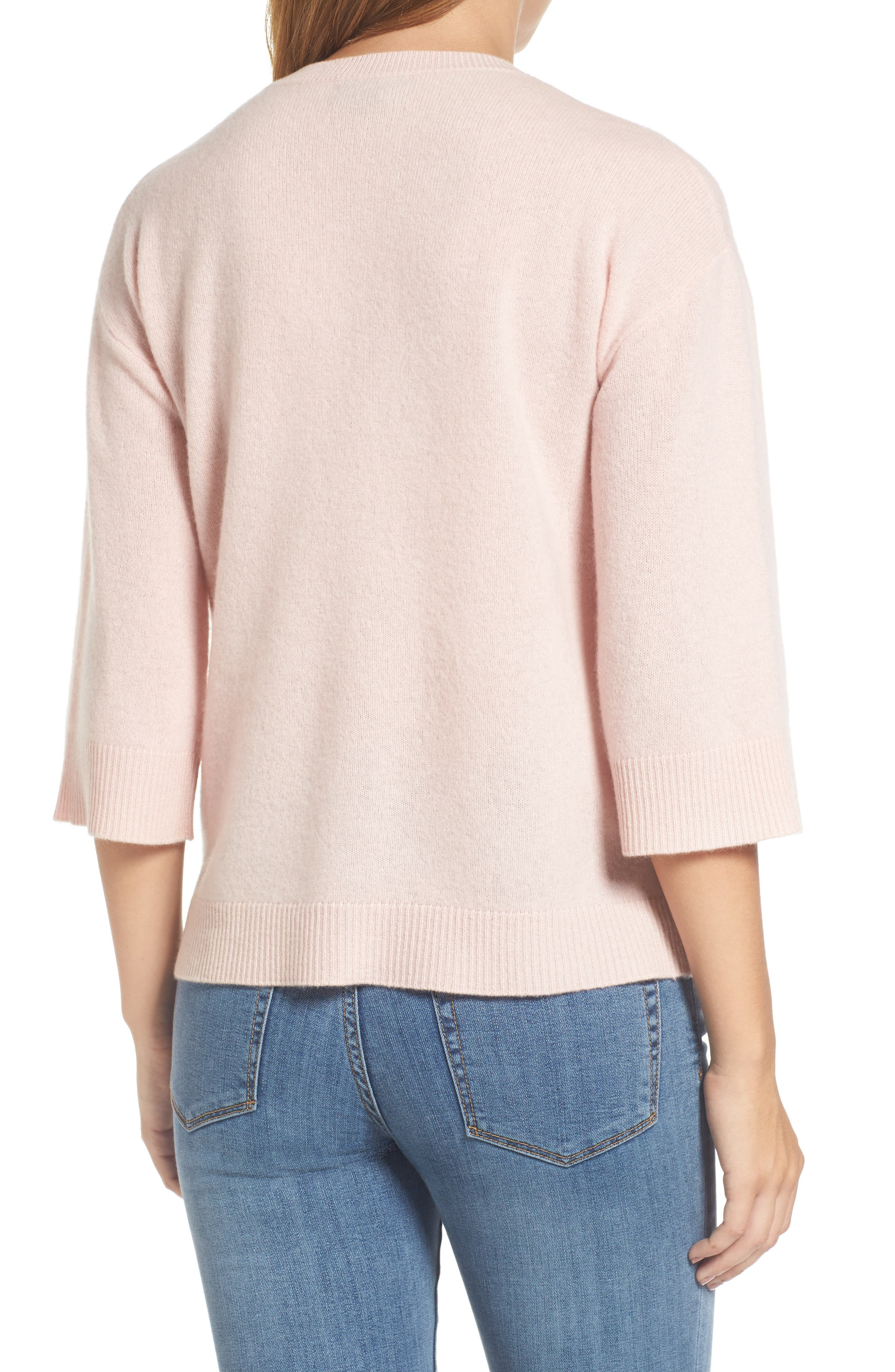 Side Tie Wool and Cashmere Sweater,                             Alternate thumbnail 2, color,                             Pink Smoke
