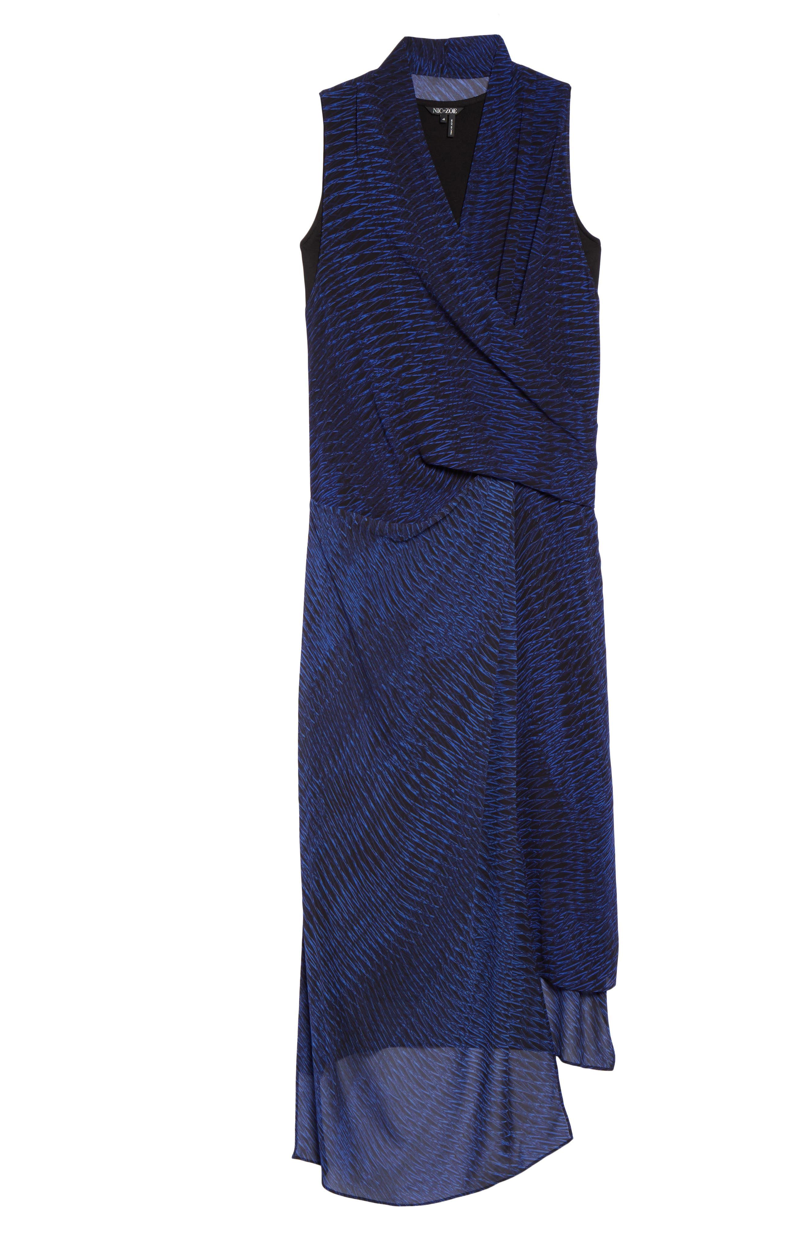 Blue Streaks Midi Dress,                             Alternate thumbnail 6, color,                             Blue Roma