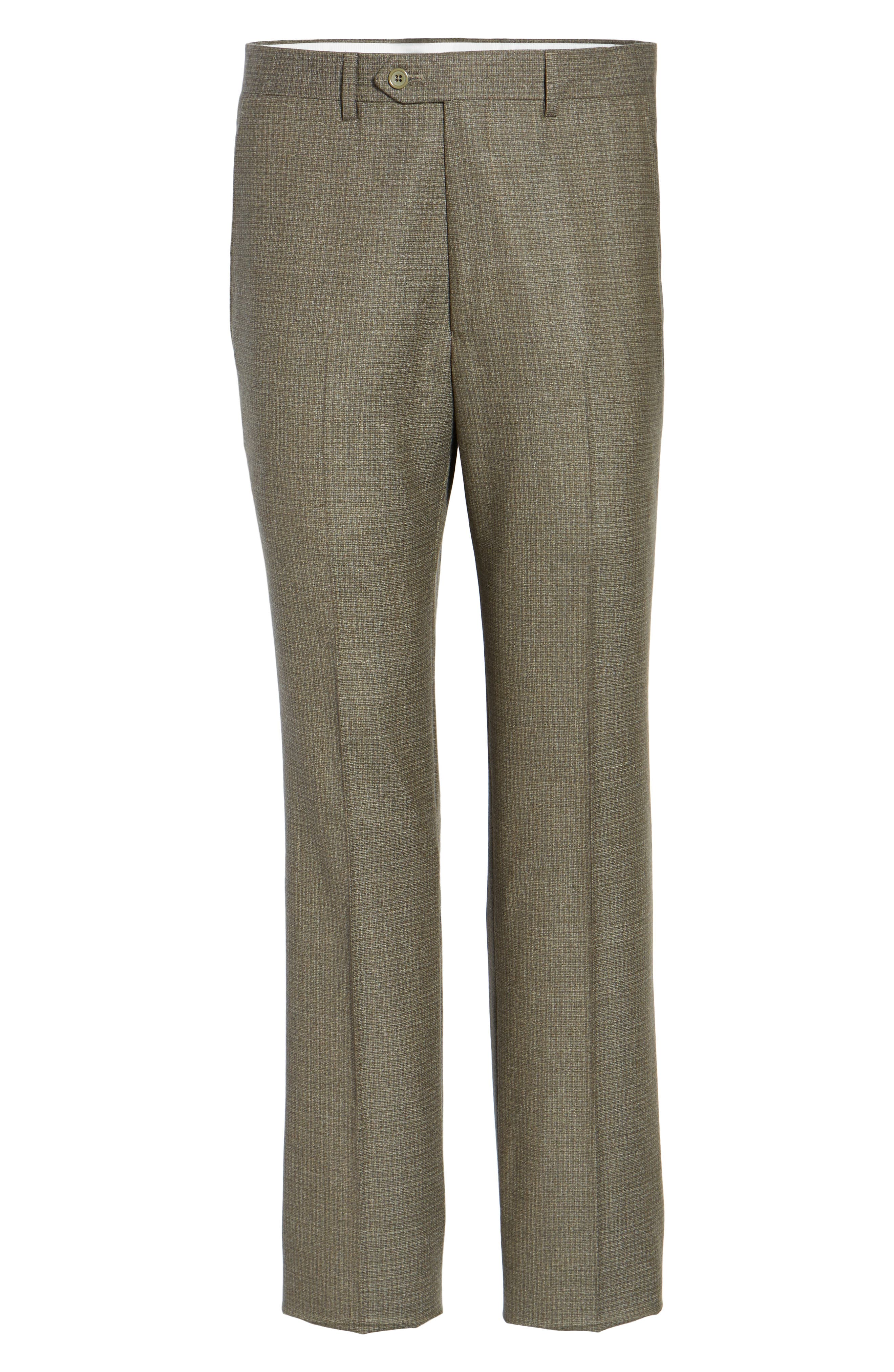 Romero Regular Fit Flat Front Trousers,                             Alternate thumbnail 6, color,                             Taupe