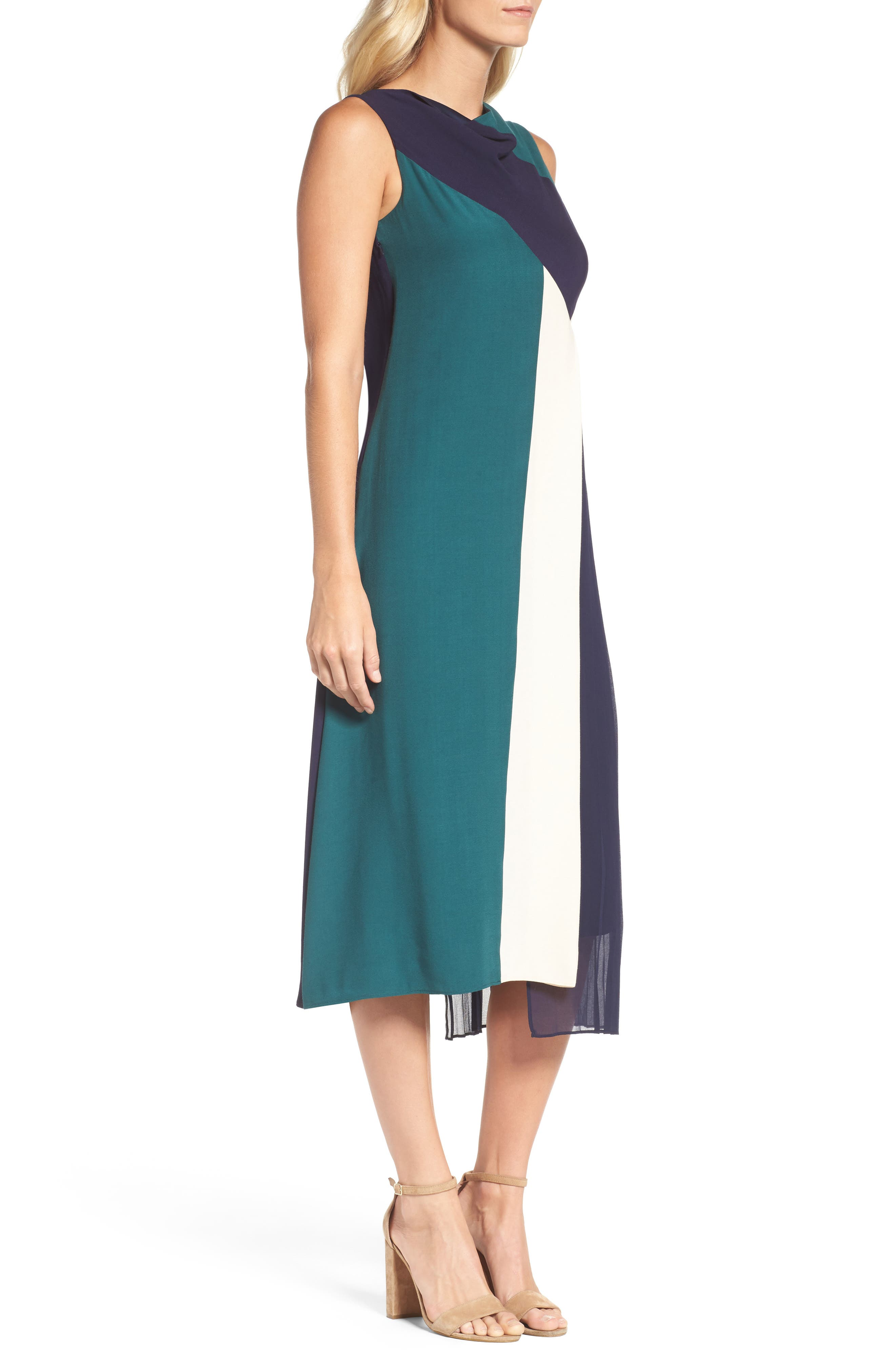 Block Pleated Midi Dress,                             Alternate thumbnail 3, color,                             Multi