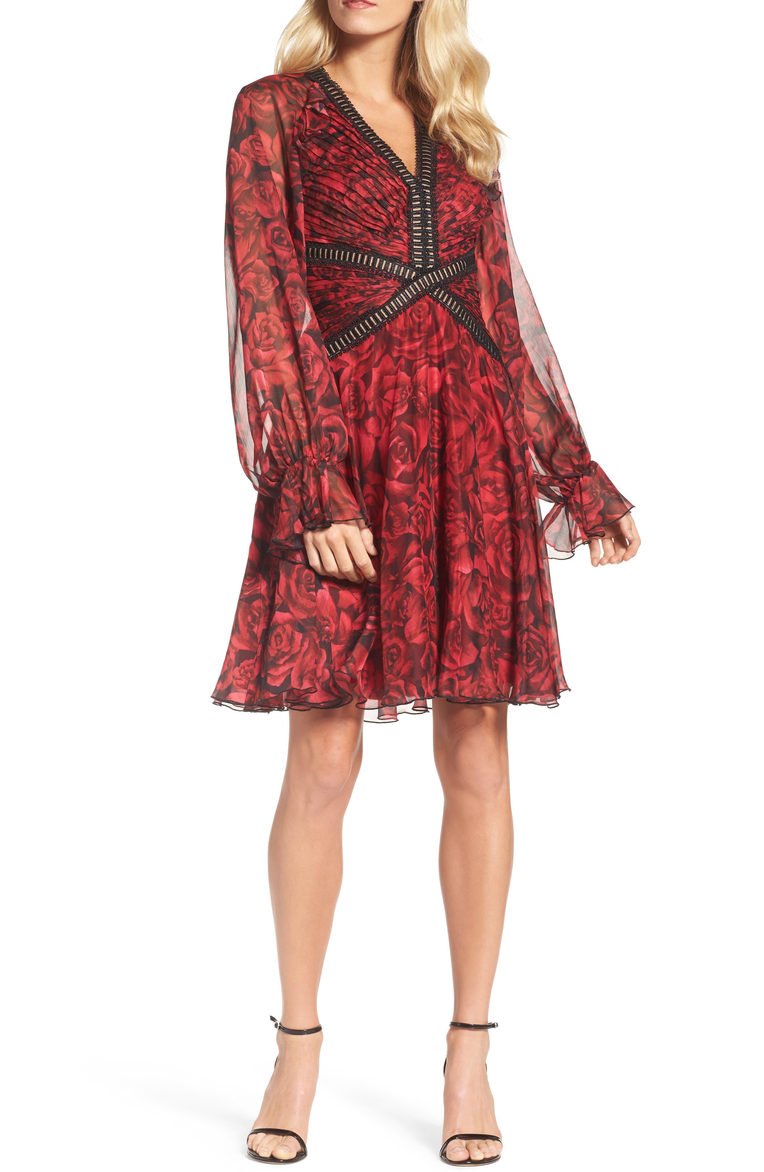 Tadashi Shoji Rose Print Pleated Chiffon Dress