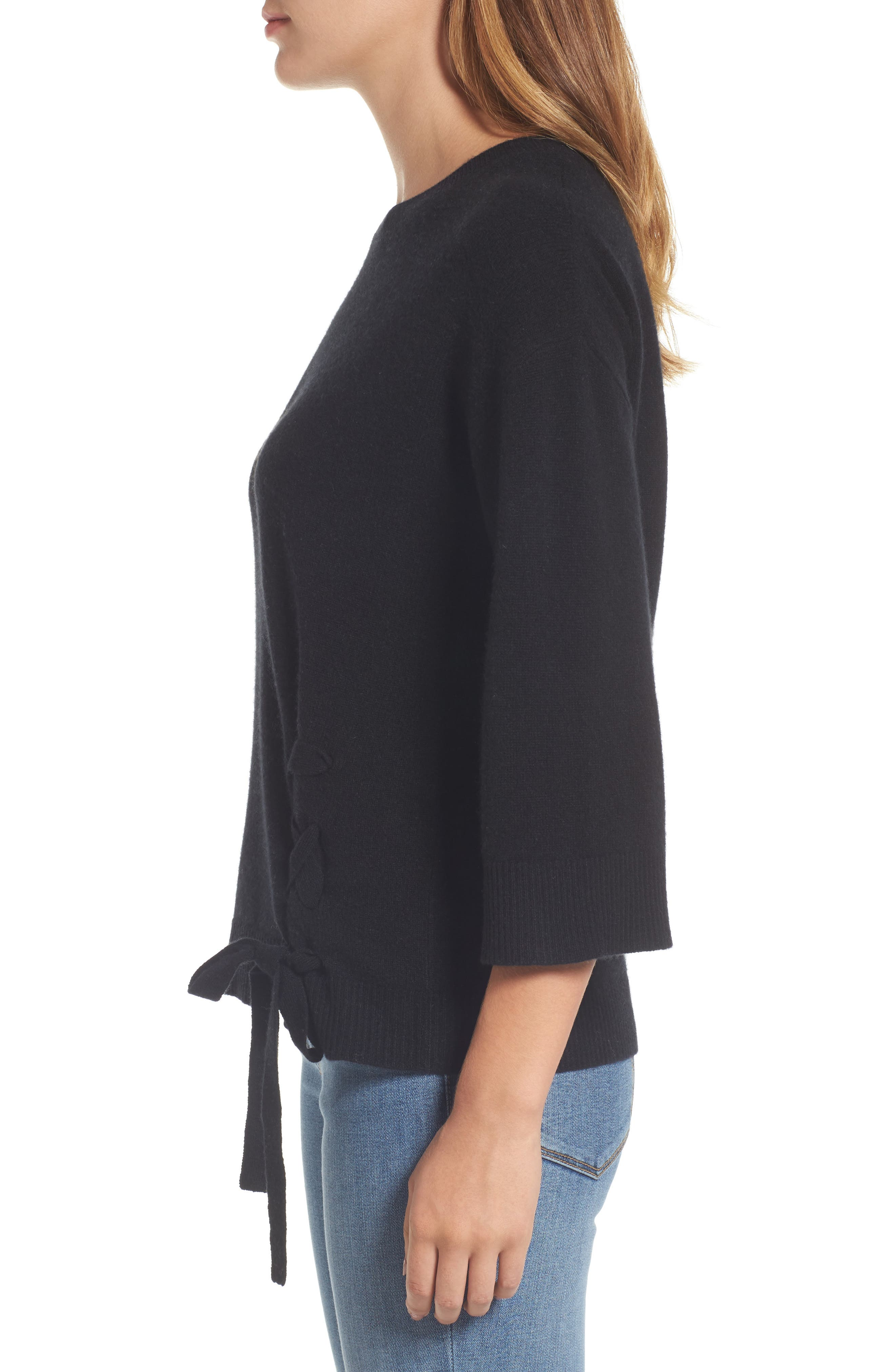 Side Tie Wool and Cashmere Sweater,                             Alternate thumbnail 3, color,                             Black