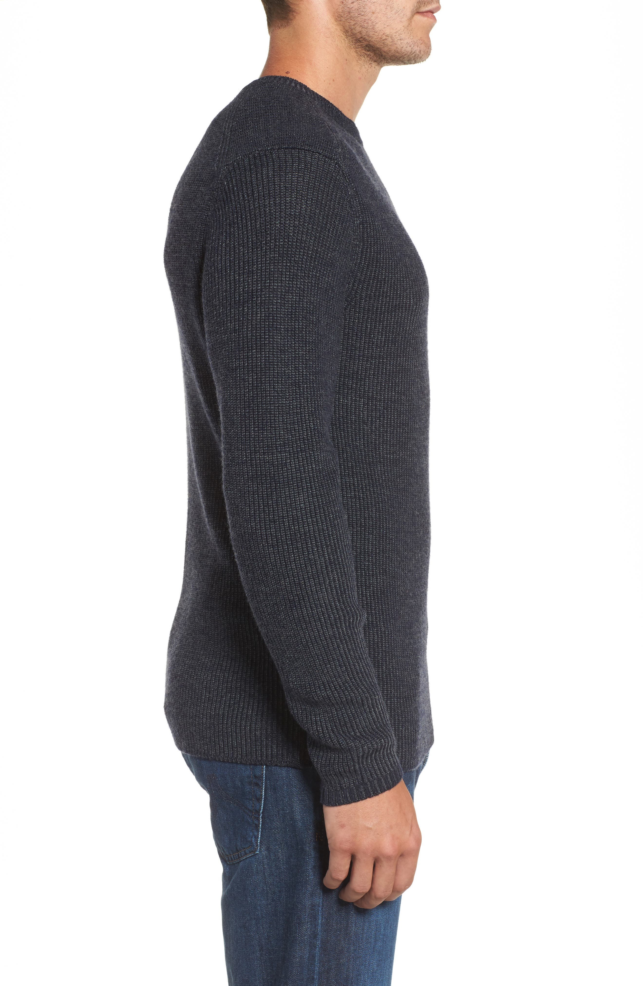 Whalers Bay Ribbed Merino Wool Sweater,                             Alternate thumbnail 3, color,                             Night