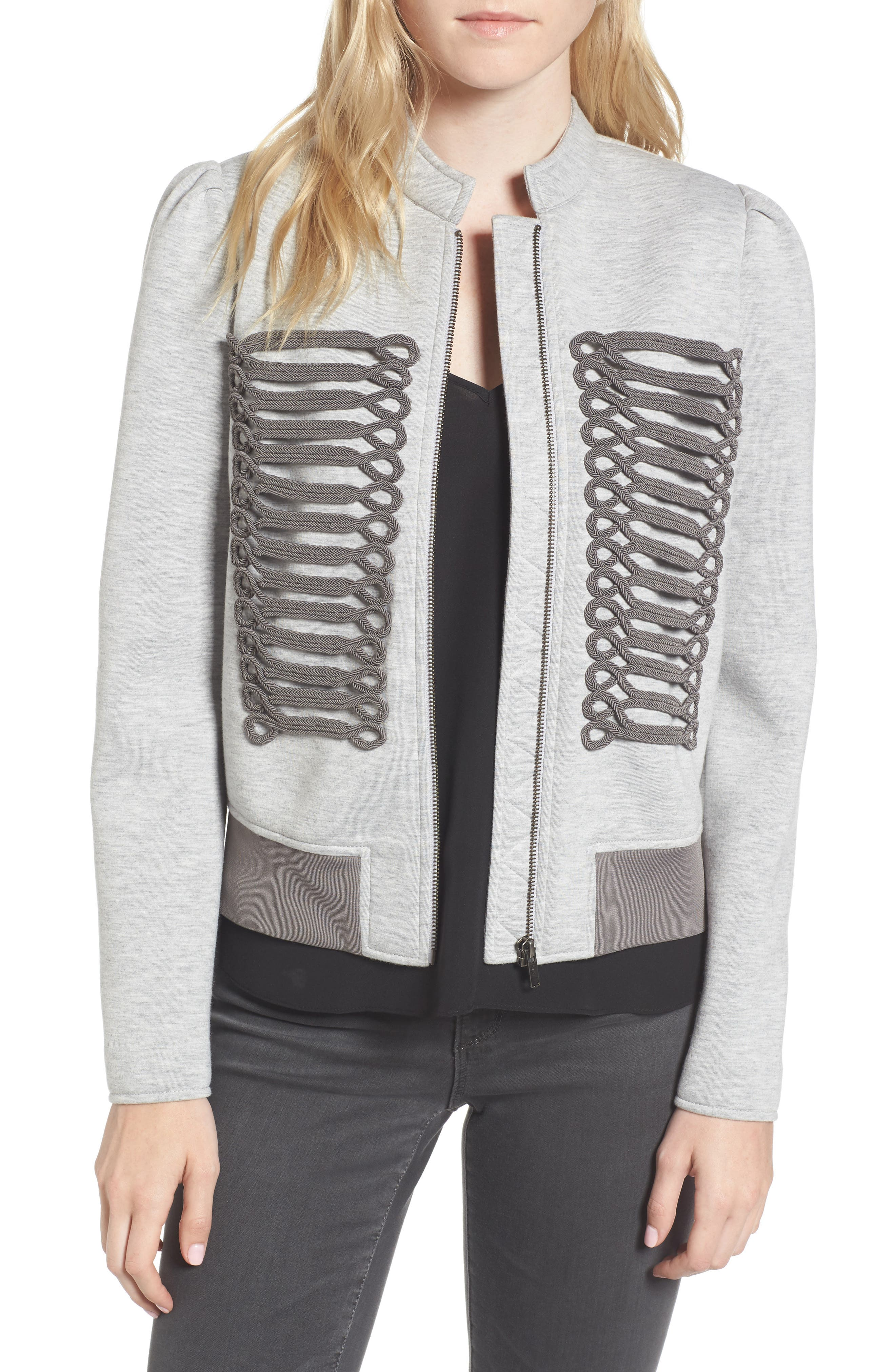 Military Bomber Jacket,                         Main,                         color, Grey Heather