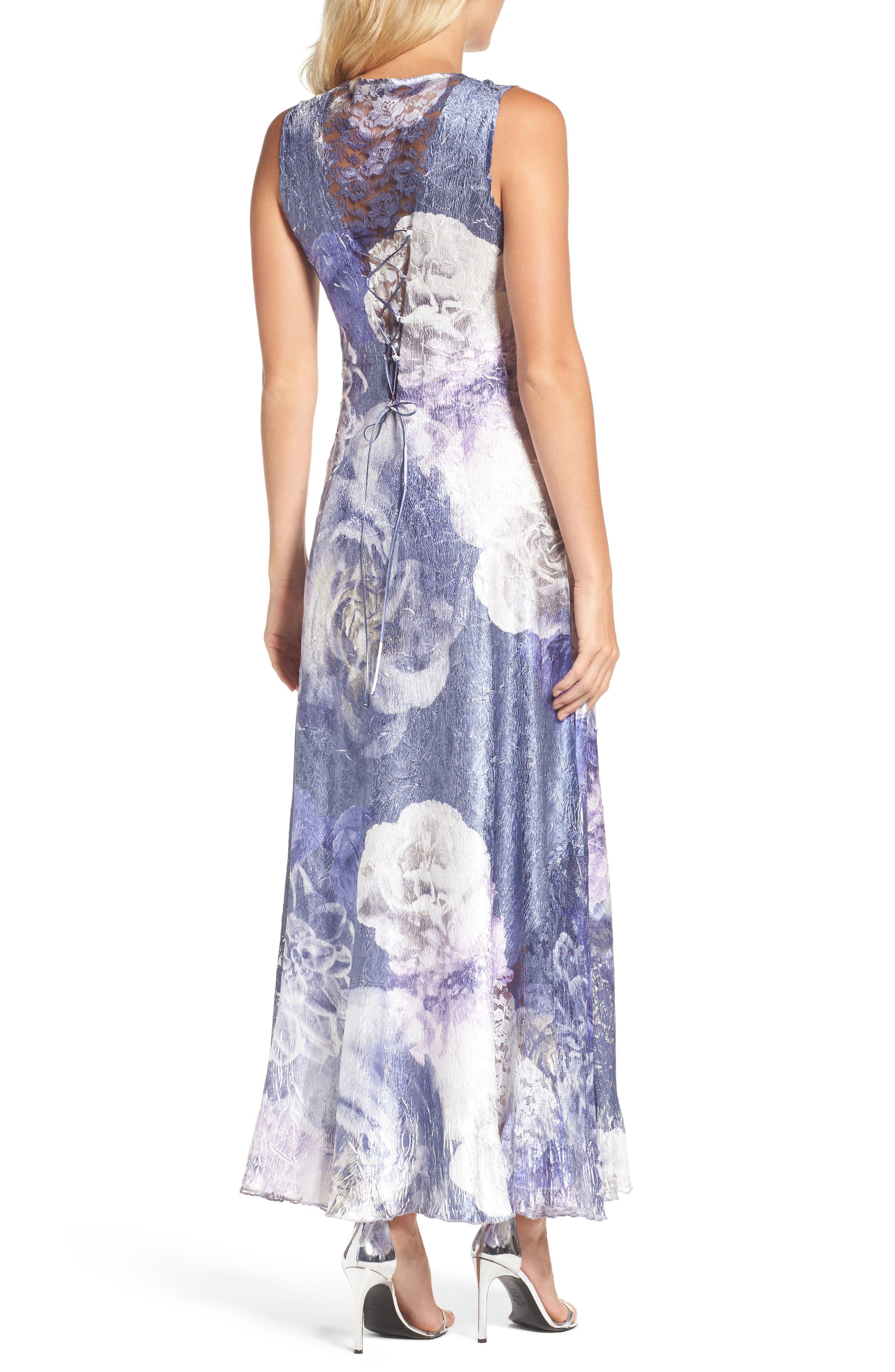 Lace-Up Back Print Maxi Dress with Shawl,                             Alternate thumbnail 2, color,                             Indigo Shadow