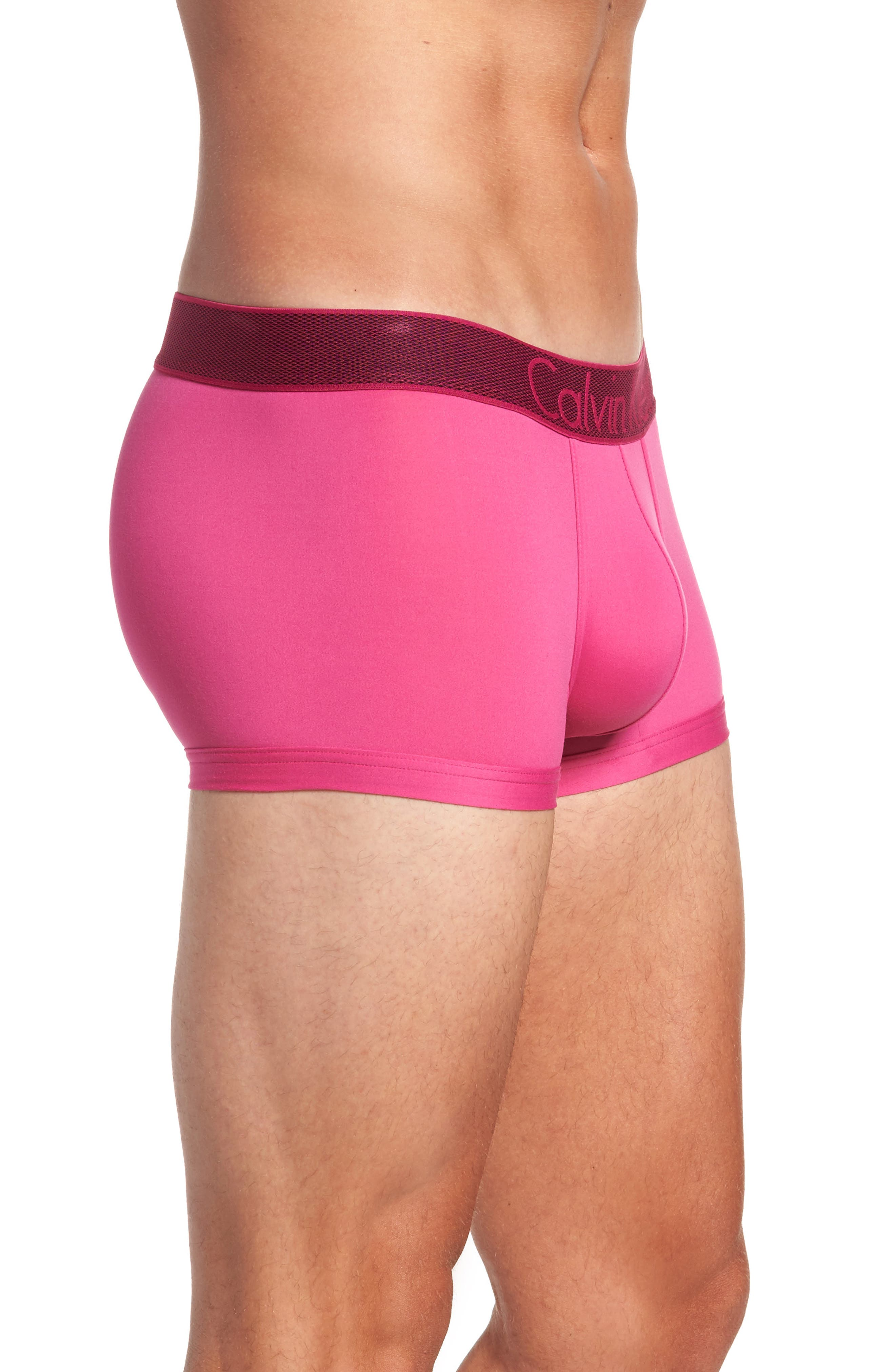 Stretch Knit Low Rise Trunks,                             Alternate thumbnail 3, color,                             Roseate