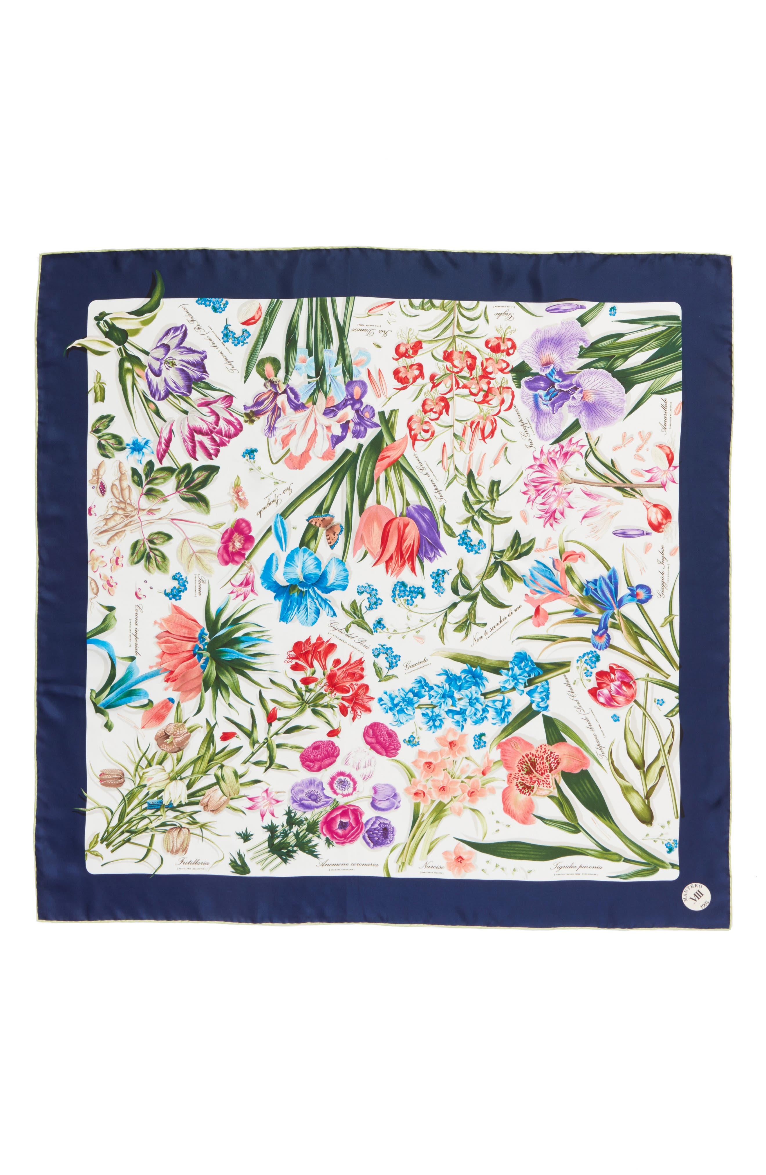 Archivio N.15 Square Silk Scarf,                             Alternate thumbnail 2, color,                             Ivory
