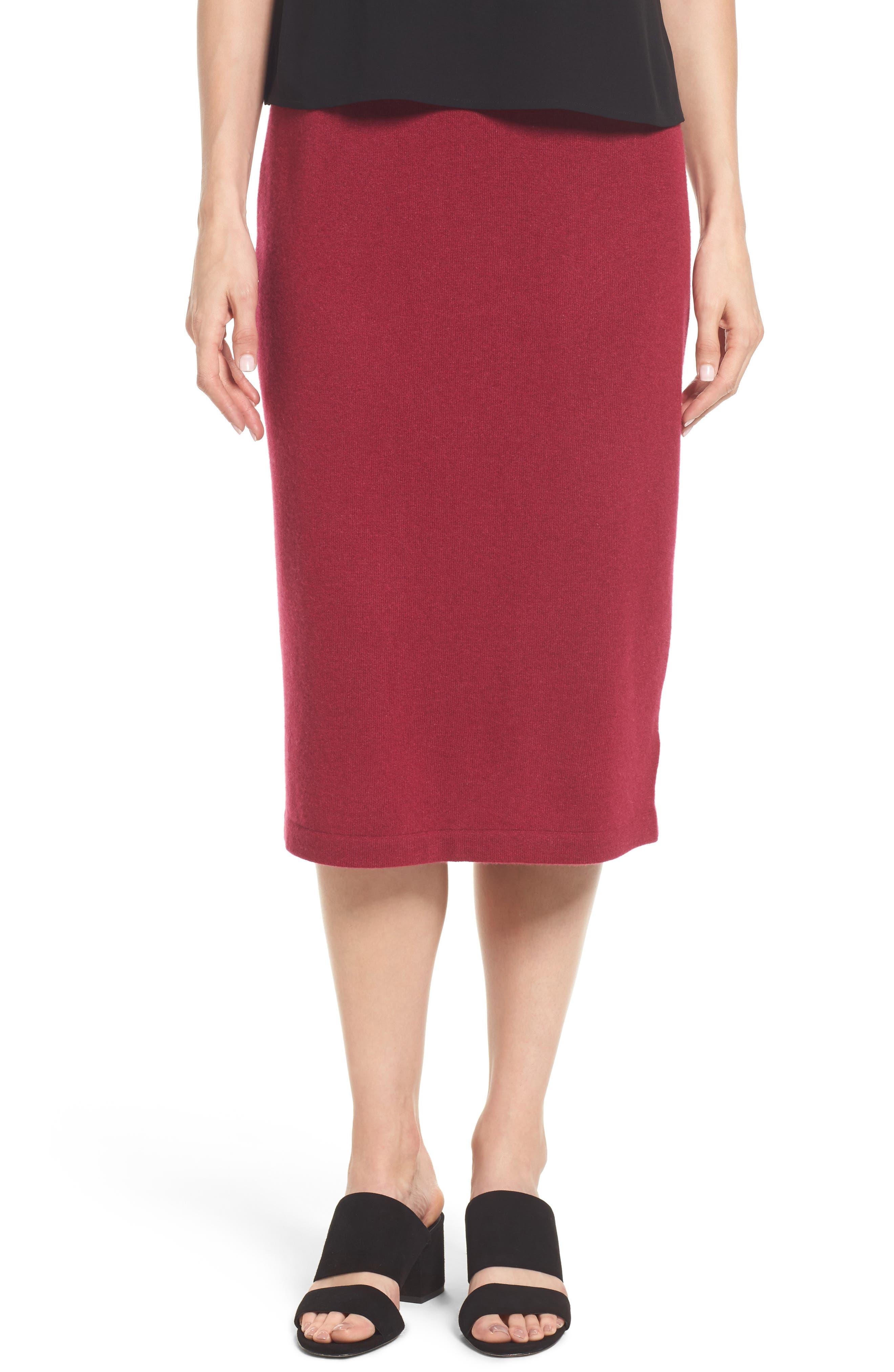 Cashmere Knit Pencil Skirt,                             Main thumbnail 1, color,                             Hibiscus