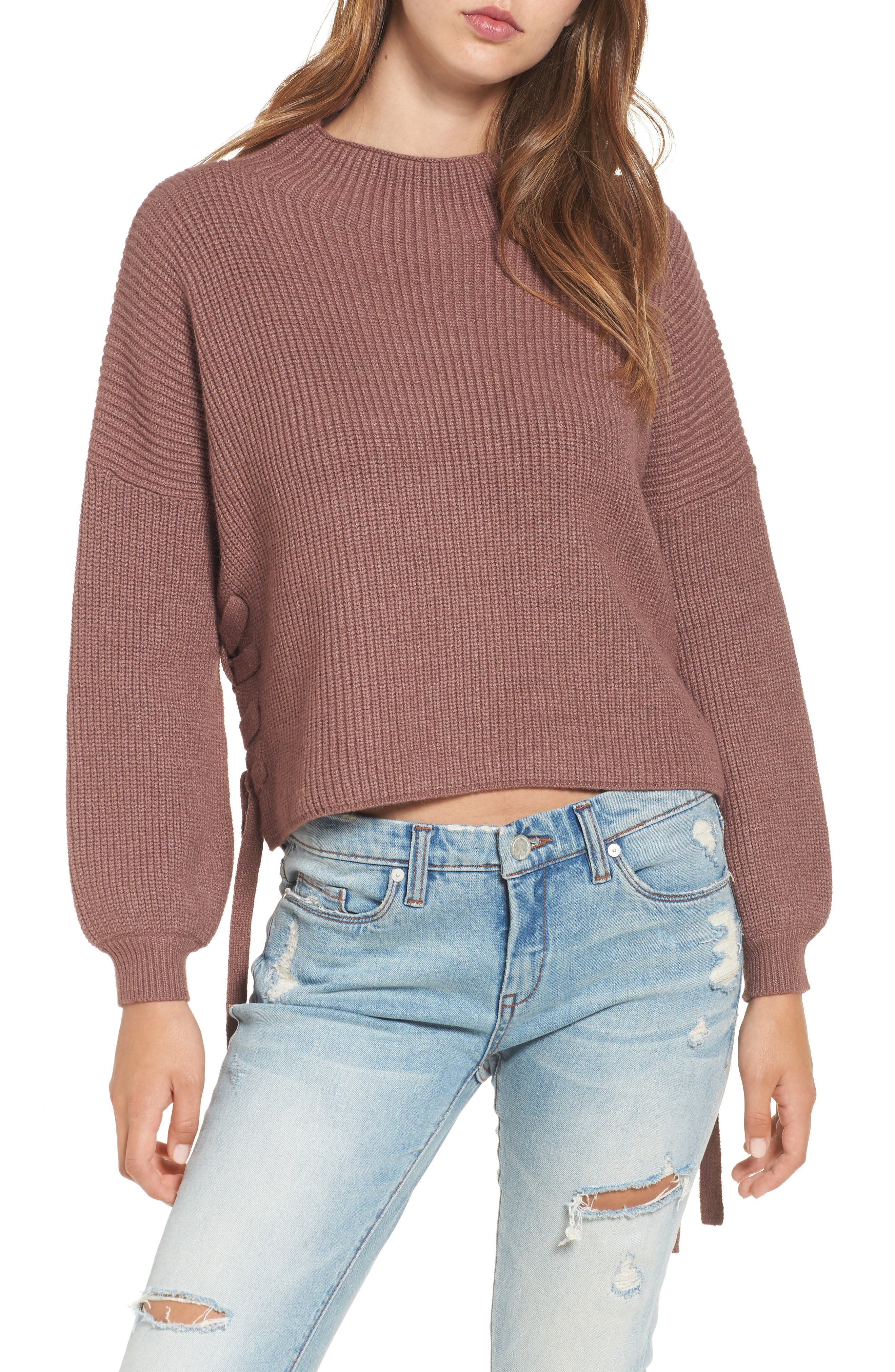Alternate Image 1 Selected - Dreamers by Debut Lace-Up Sweater