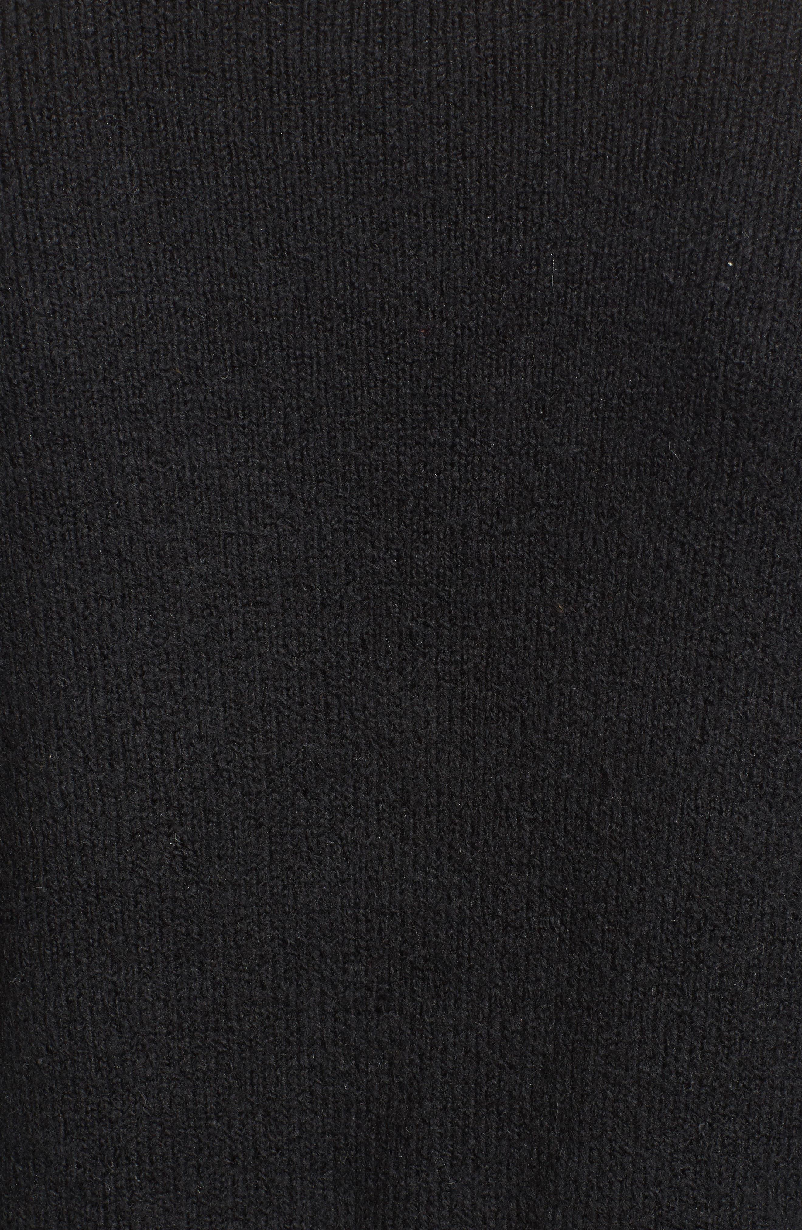 V-Neck High/Low Sweater,                             Alternate thumbnail 5, color,                             Black