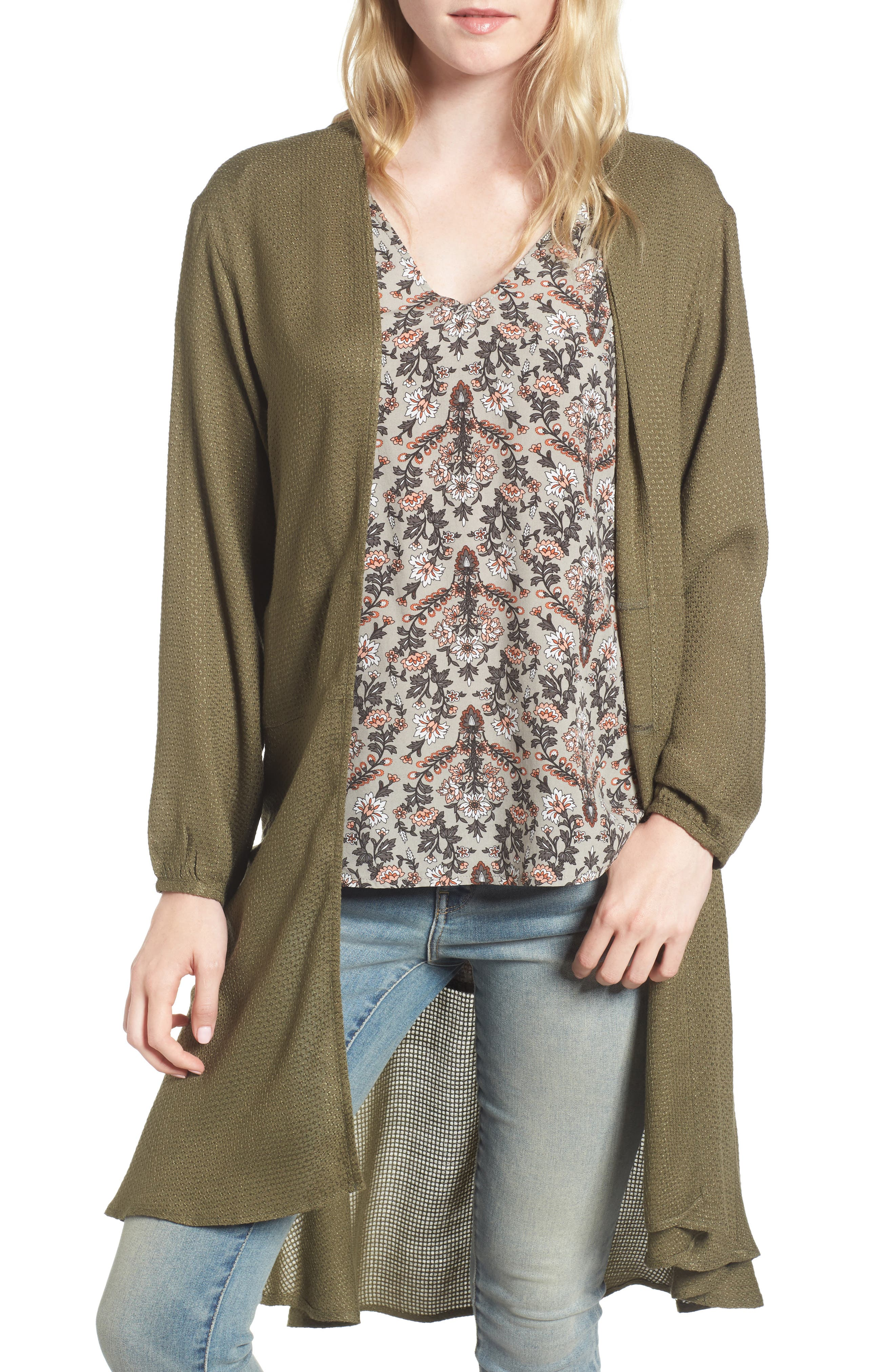 Longline Cardigan,                         Main,                         color, Olive Dark