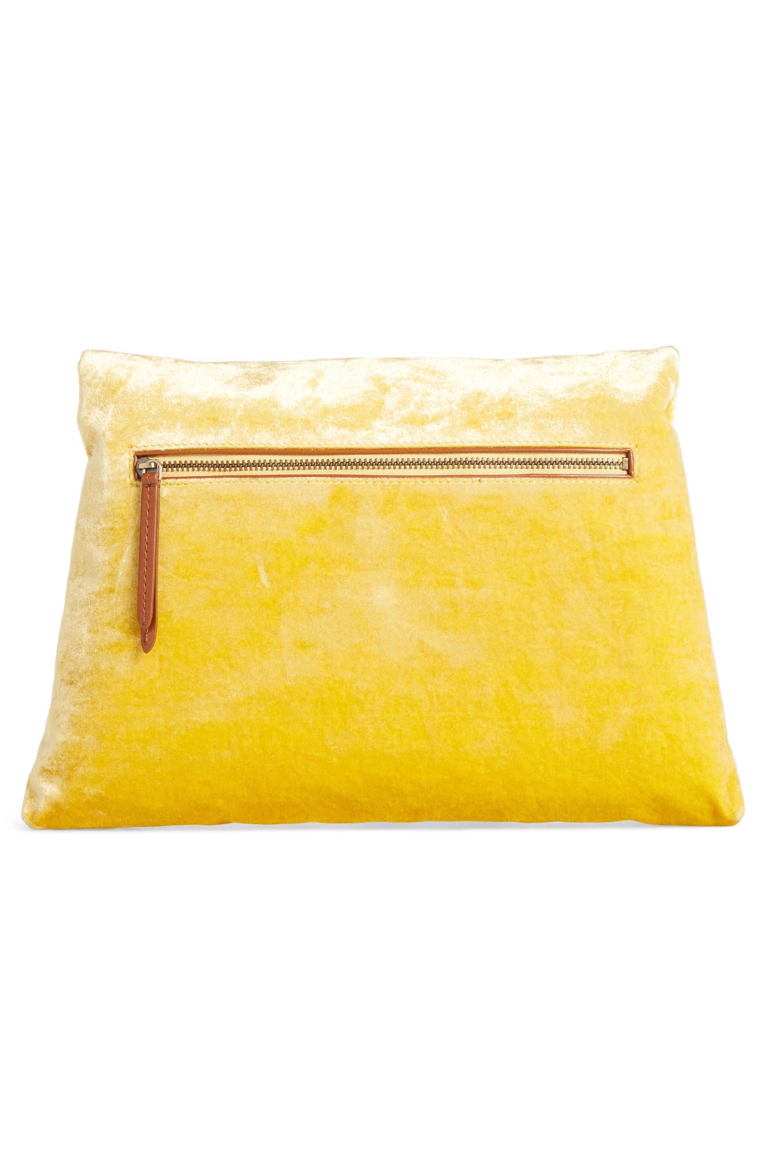 Velvet Envelope Clutch,                             Alternate thumbnail 2, color,                             Yellow