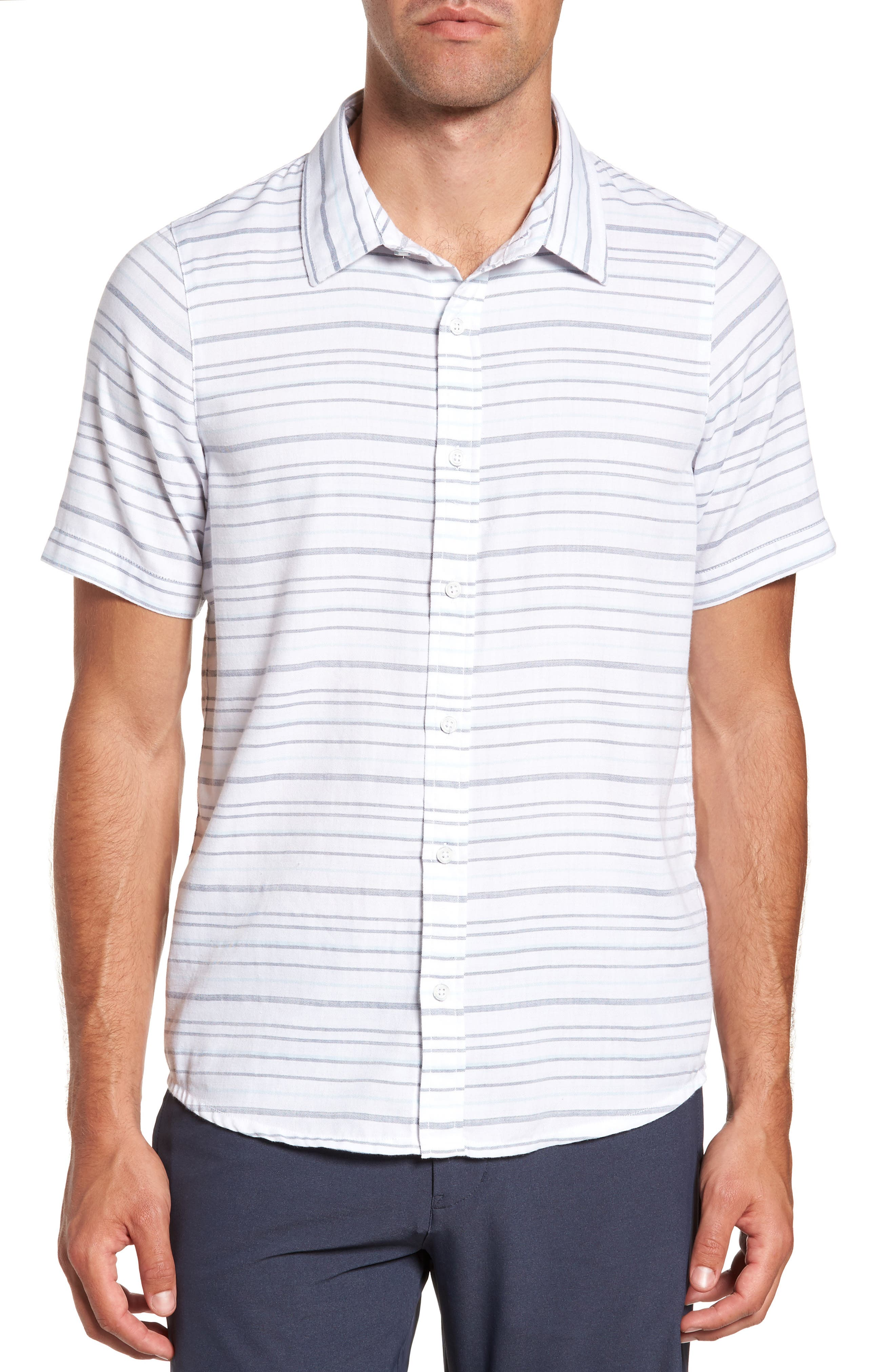 Main Image - Travis Mathew Long Board Stripe Sport Shirt