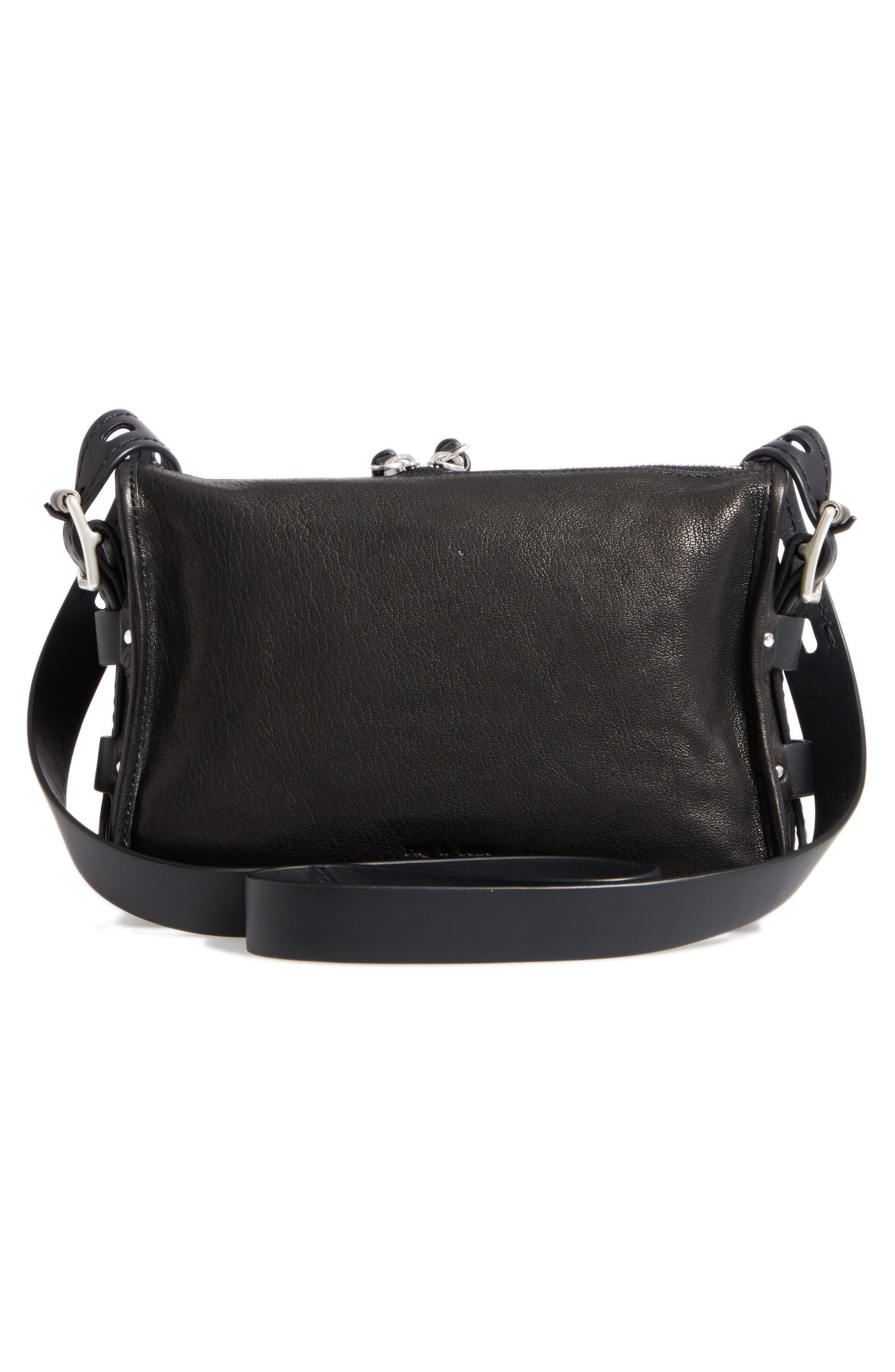 Small Field Leather Messenger Bag,                             Alternate thumbnail 3, color,                             Black