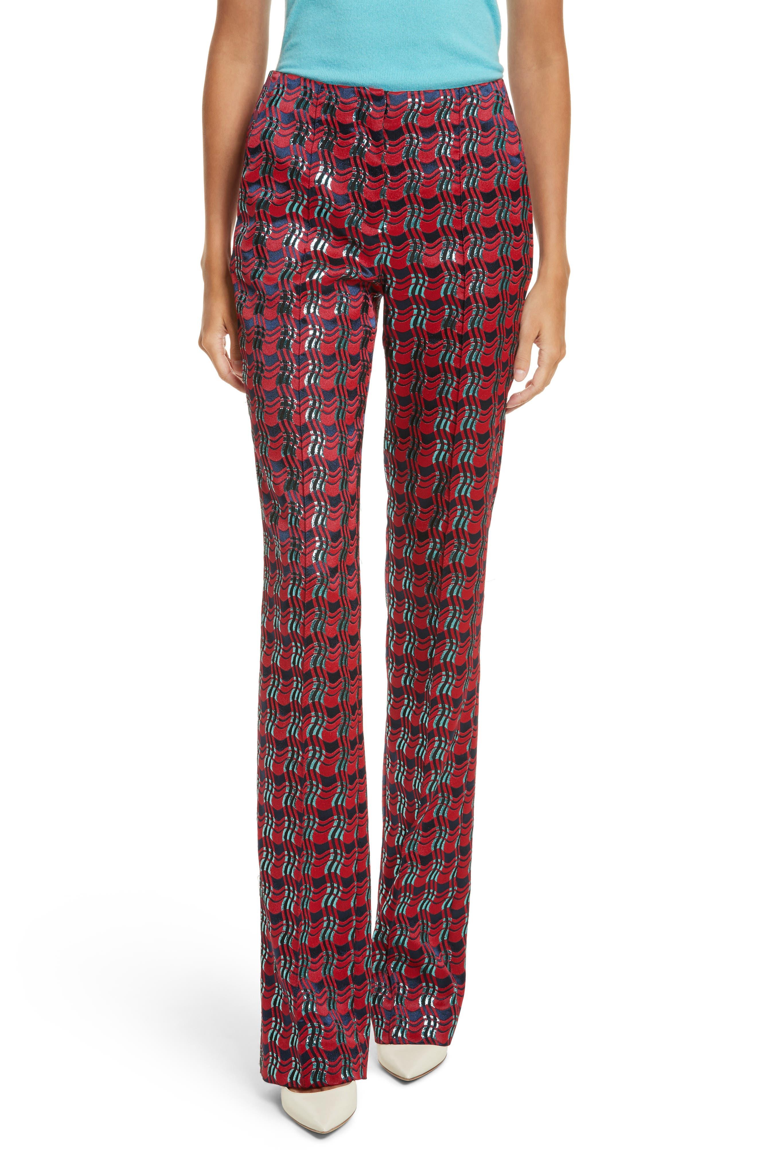 Pleat Front Jacquard Pants,                         Main,                         color, Lipstick/ New Navy/ Marine