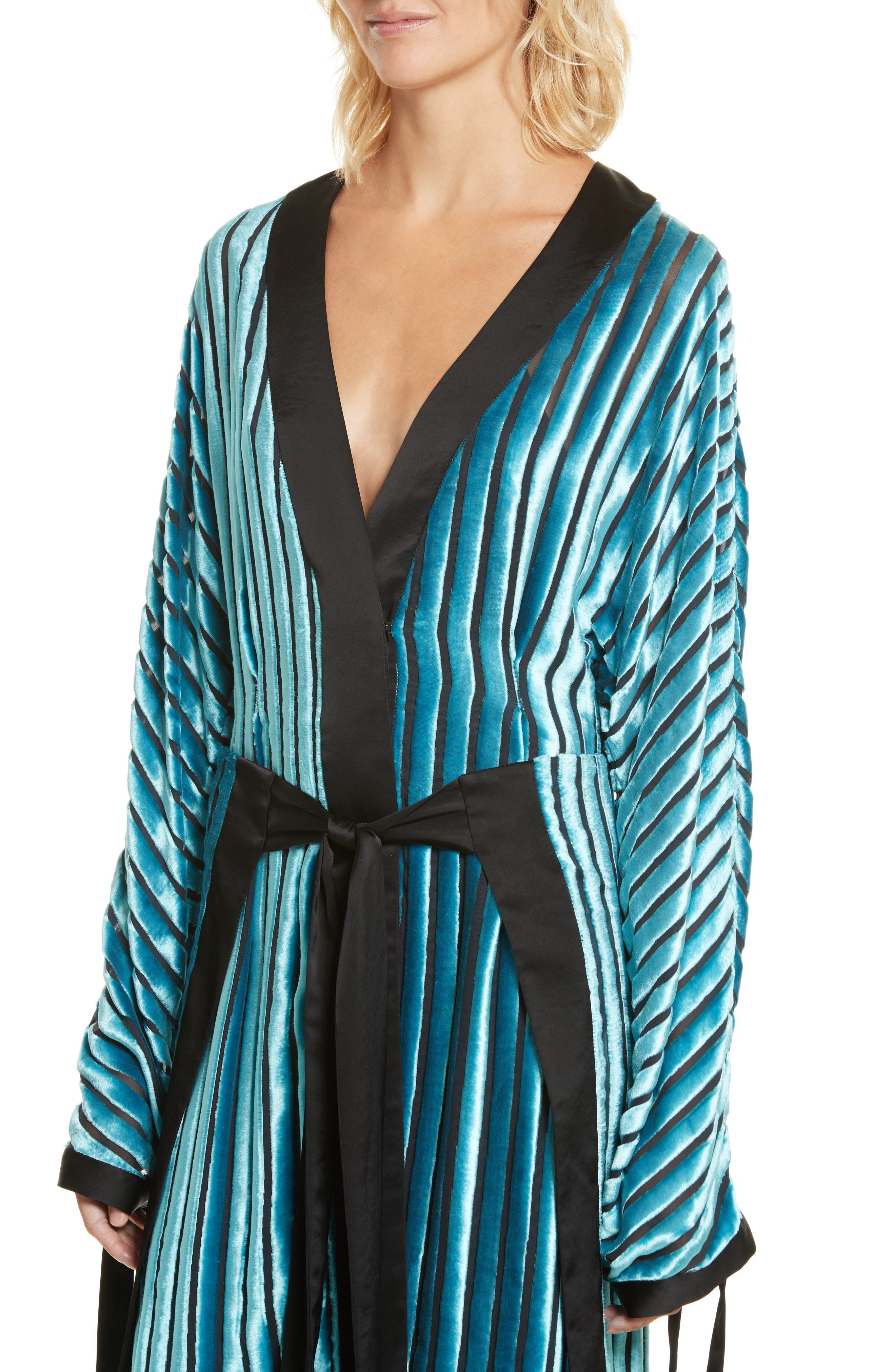 Velvet Burnout Kimono Dress,                             Alternate thumbnail 4, color,                             Black/ Marine