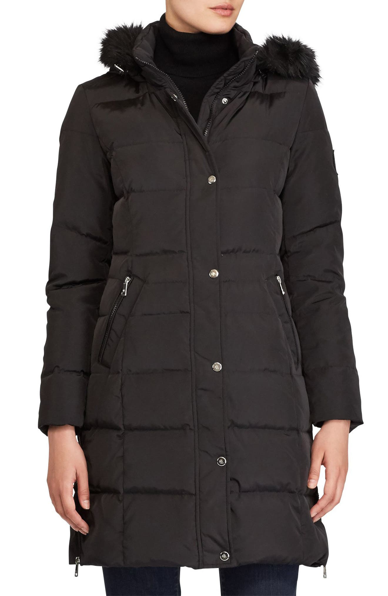 Quilted Parka with Faux Fur,                         Main,                         color, Black