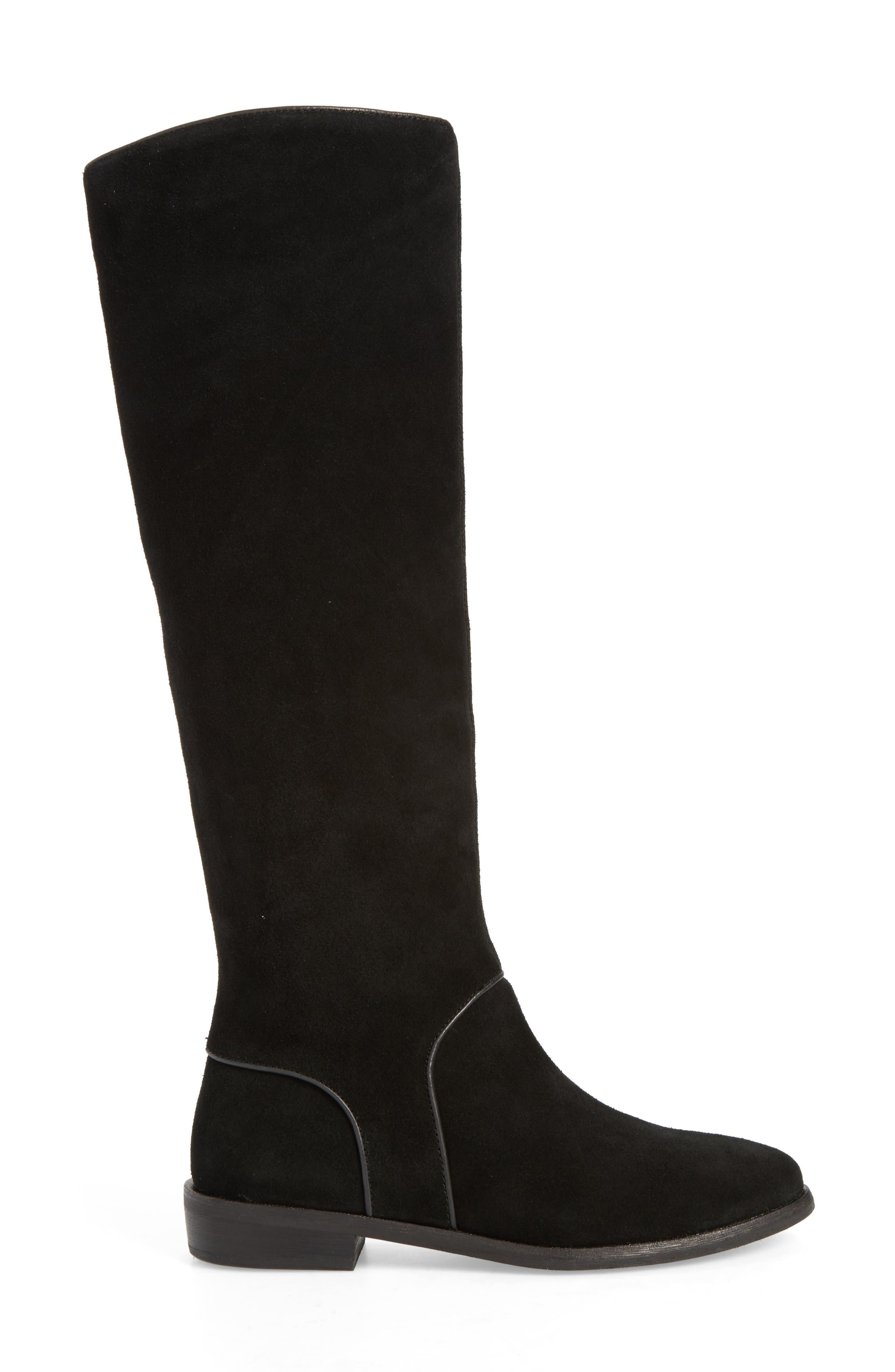 Gracen Knee High Boot,                             Alternate thumbnail 3, color,                             Black Suede