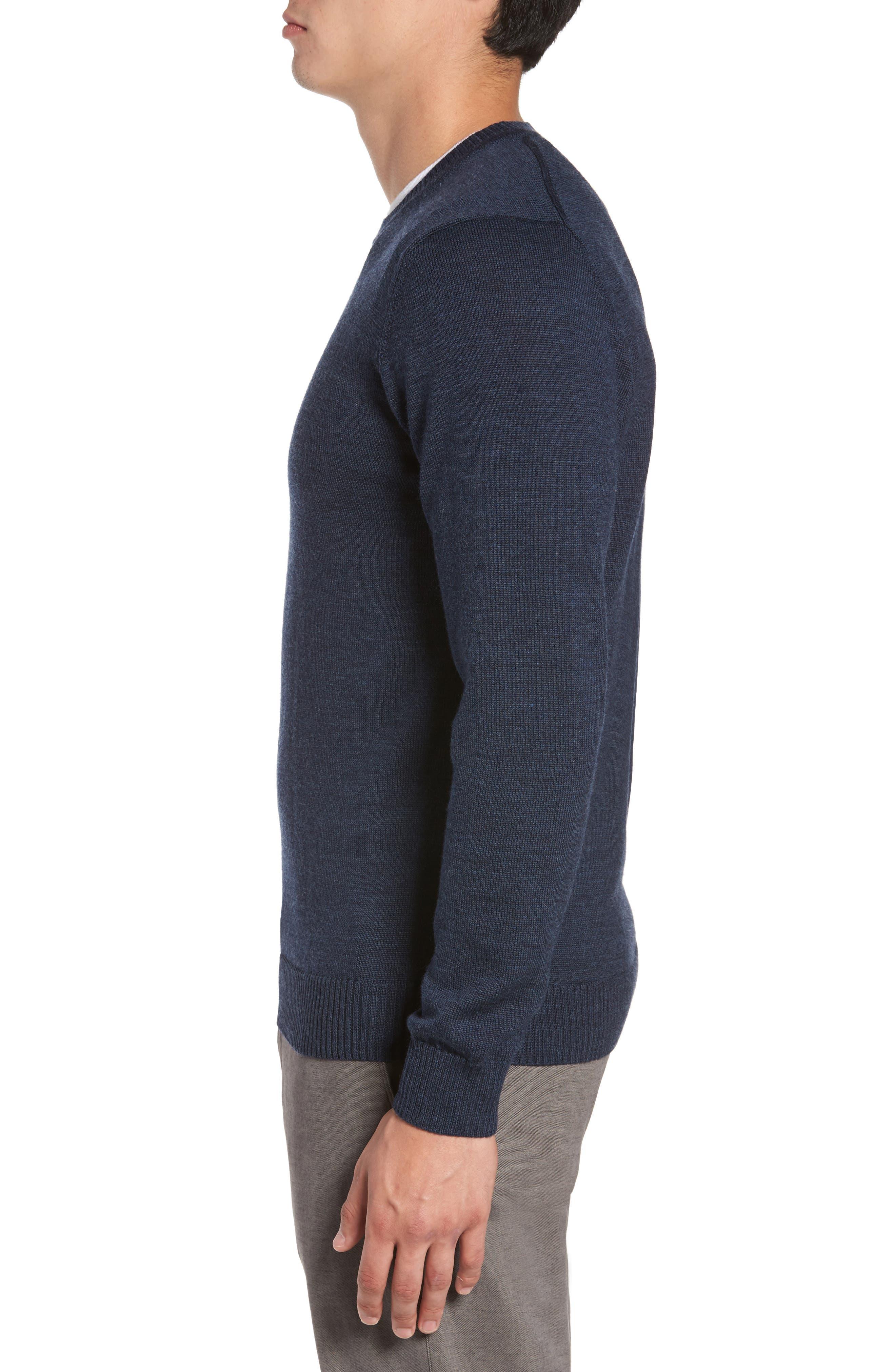 Bannockburn Mélange Merino Wool Sweater,                             Alternate thumbnail 3, color,                             Ink