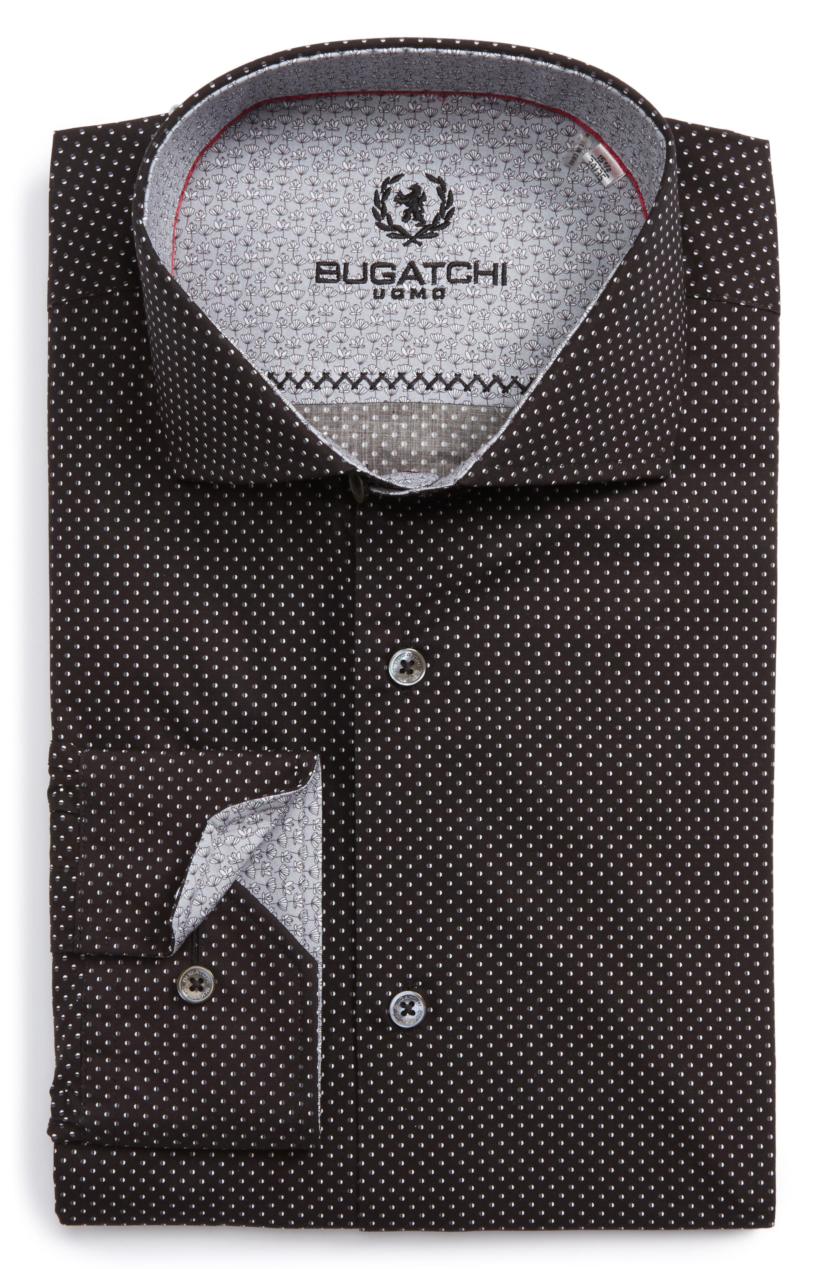Main Image - Bugatchi Trim Fit Dot Dress Shirt