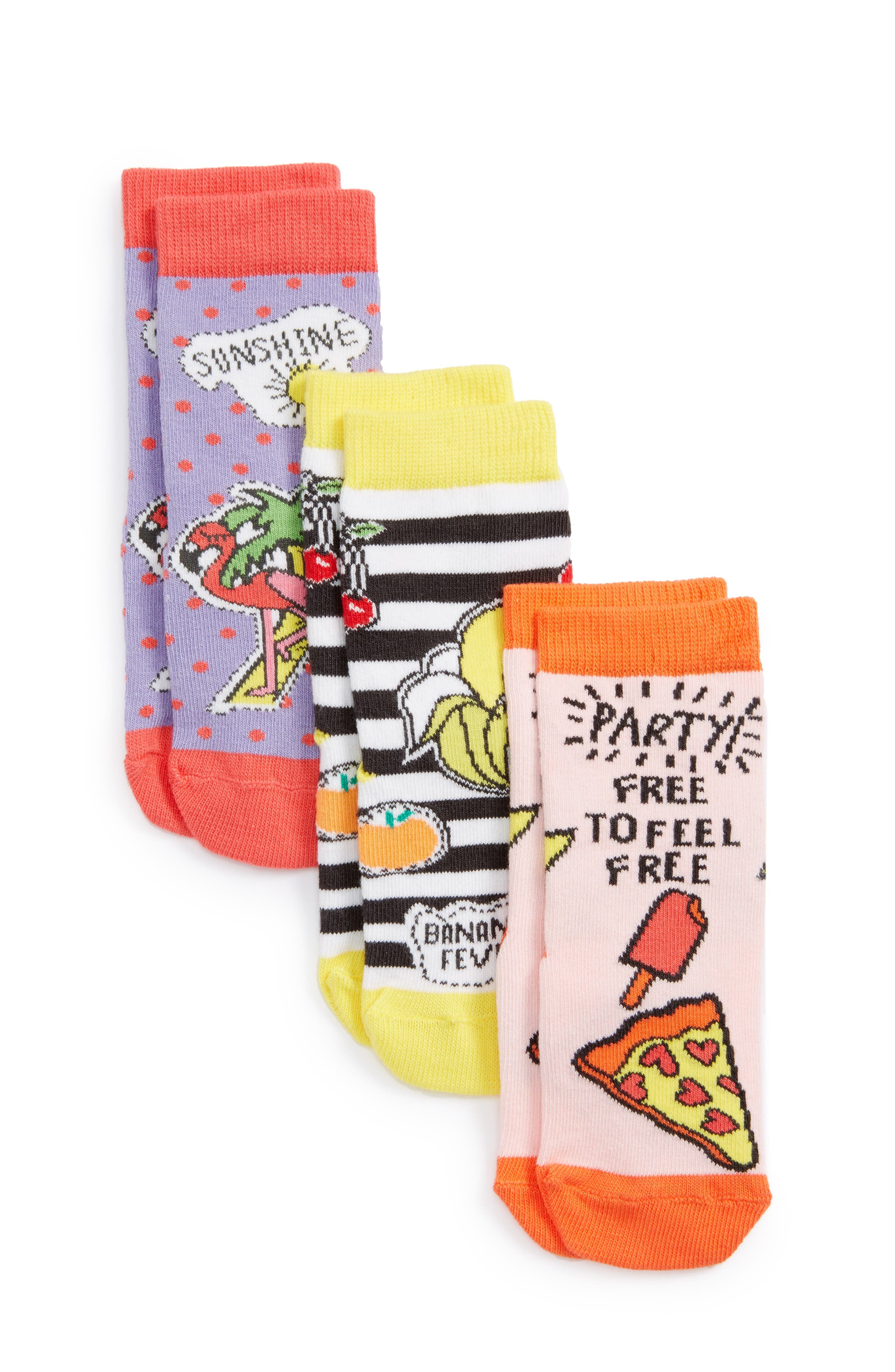 Patch Assorted 3-Pack Crew Socks,                         Main,                         color, Banana Multi