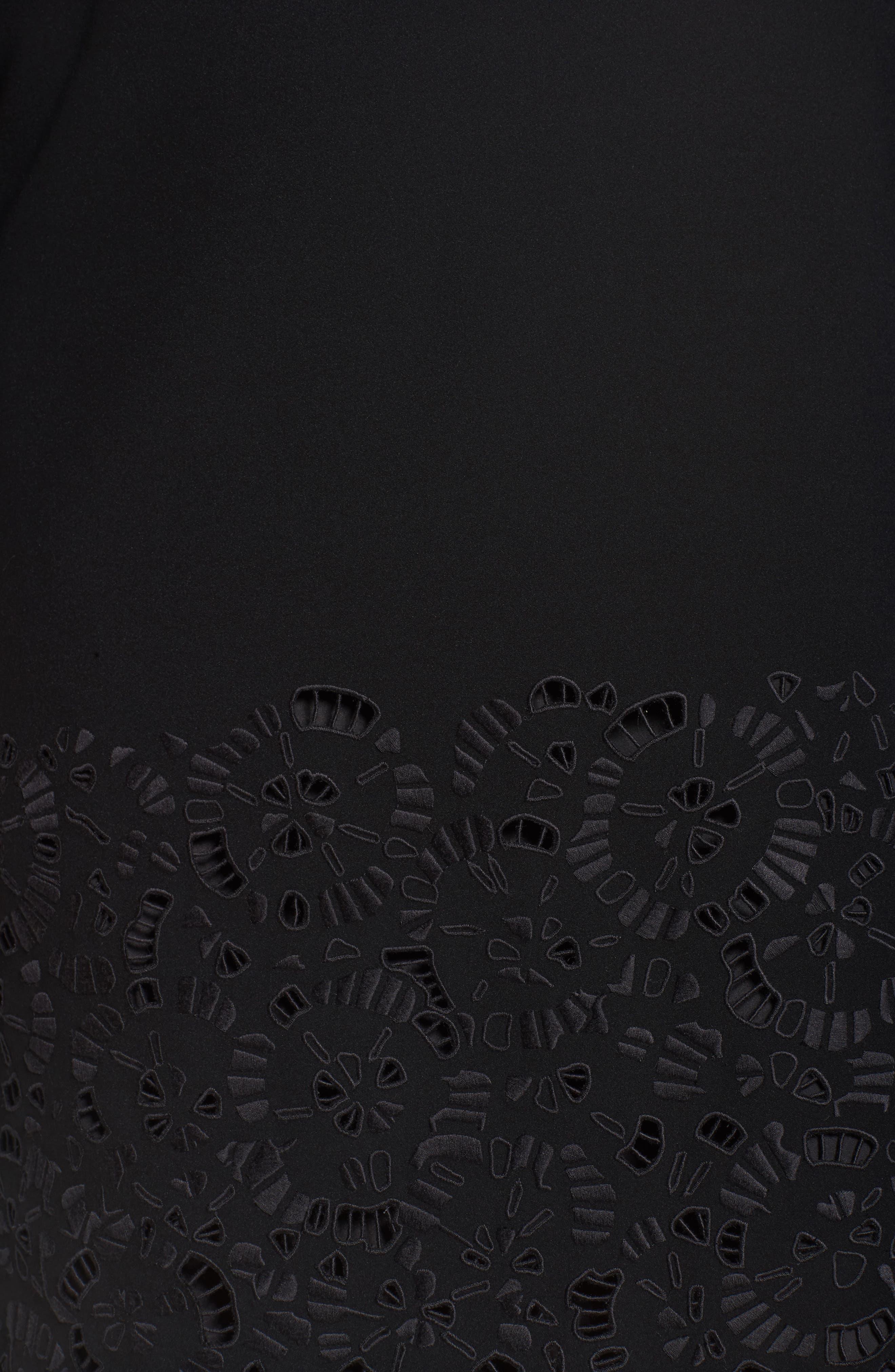 Corbin Laser Cut Dress,                             Alternate thumbnail 5, color,                             Black