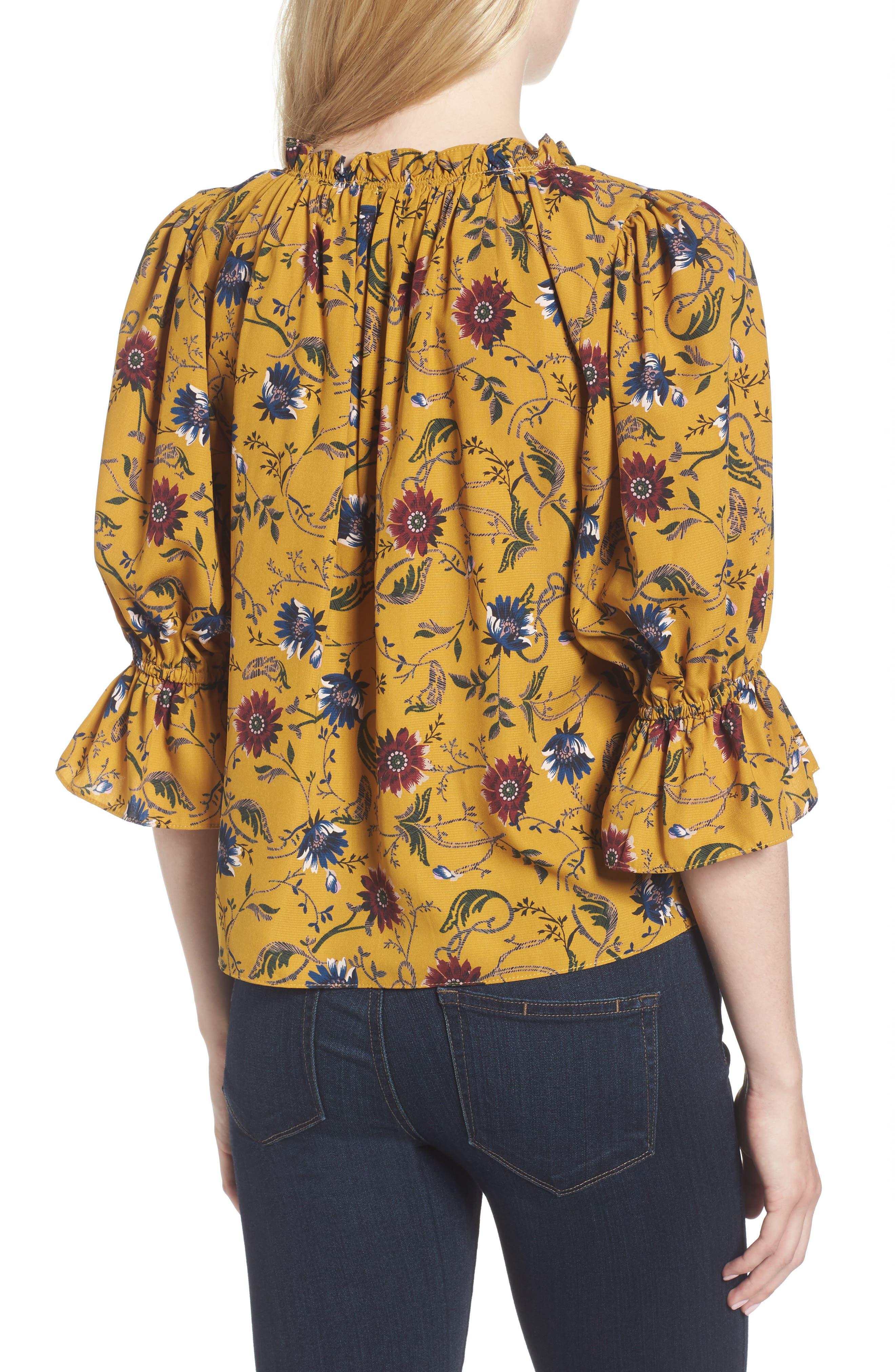 Danee Floral Top,                             Alternate thumbnail 2, color,                             Marigold/ Ivory
