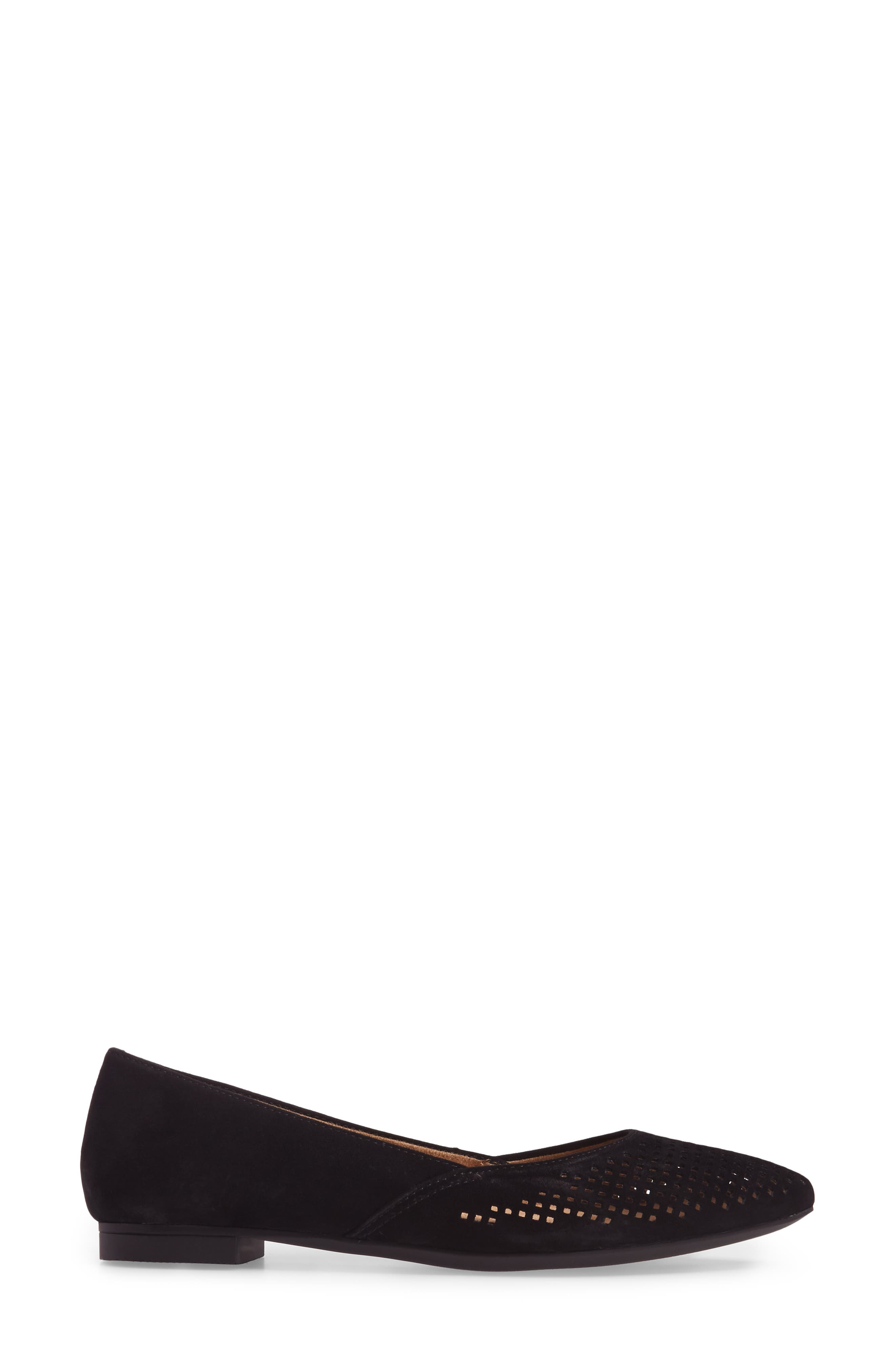 Posey Flat,                             Alternate thumbnail 3, color,                             Black Suede