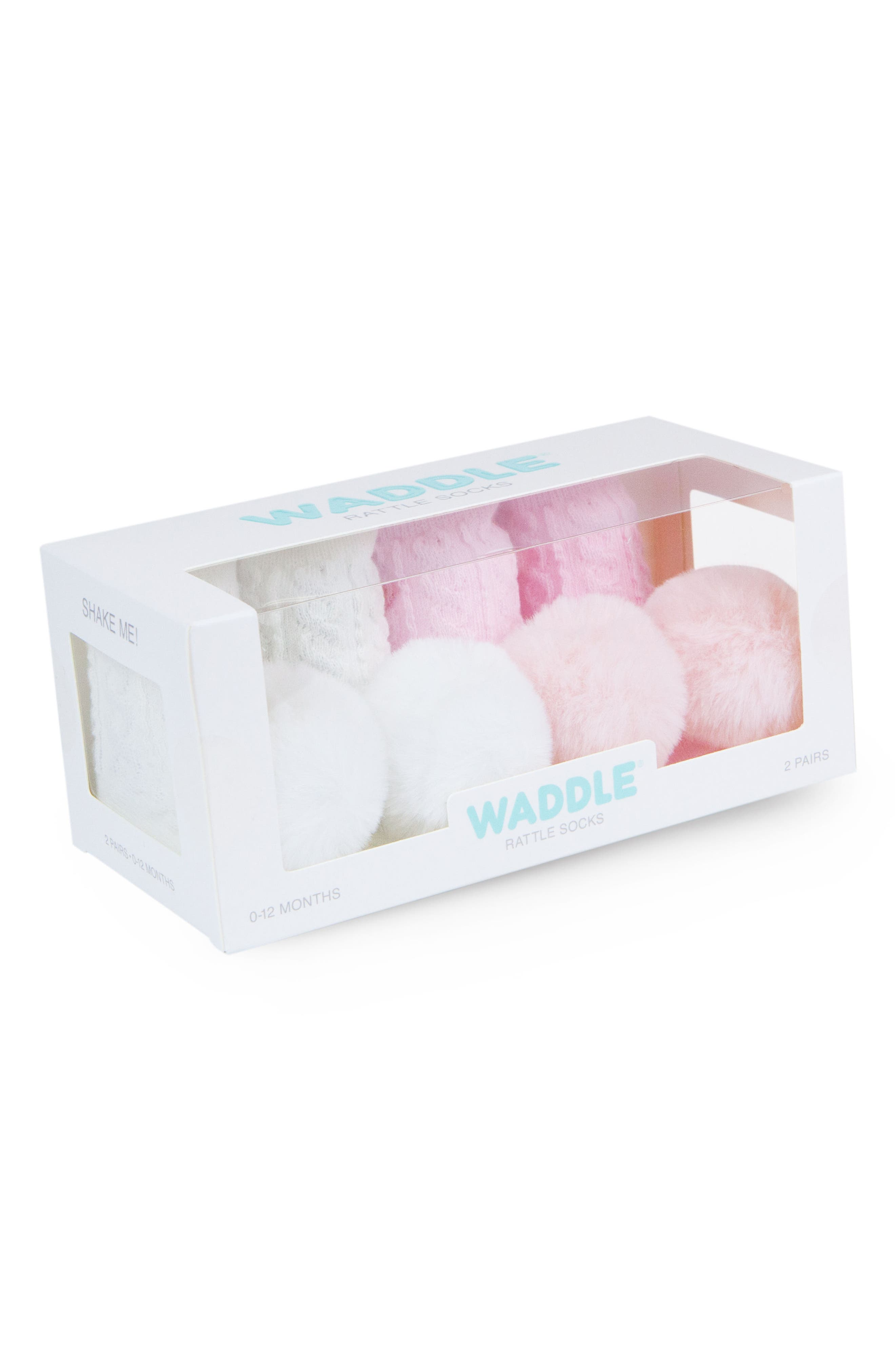 Alternate Image 2  - Waddle & Friends 2-Pack Pom Rattle Socks (Baby)