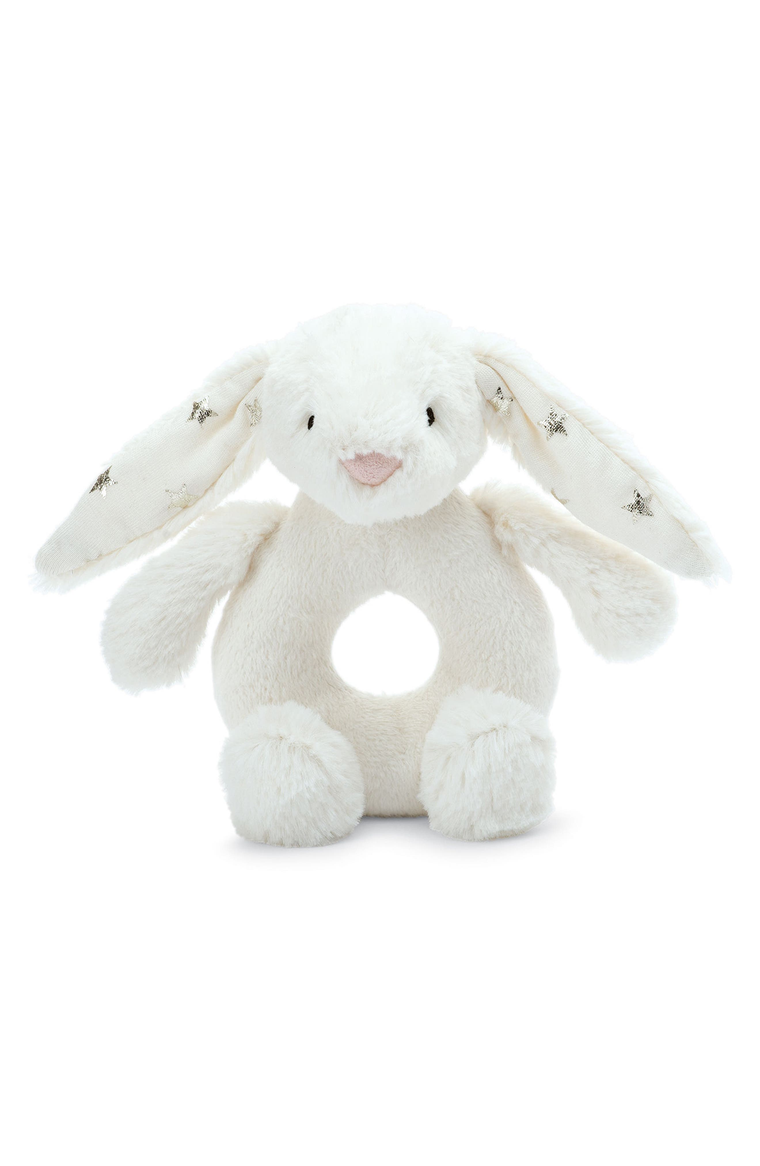 Twinkle Bunny Ring Rattle,                         Main,                         color, Cream