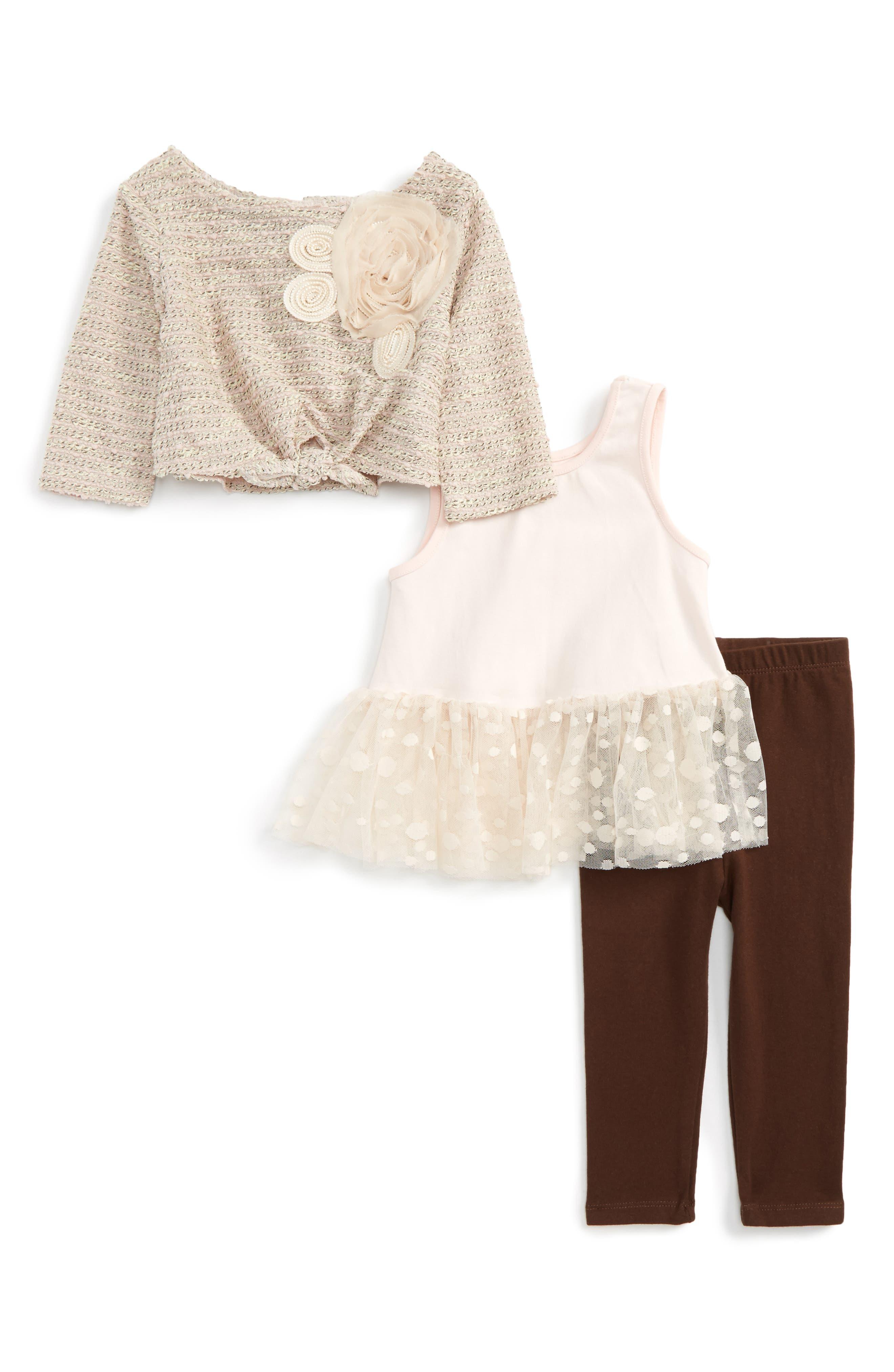 Main Image - Pippa & Julie Sweater, Tank & Leggings Set (Baby Girls)