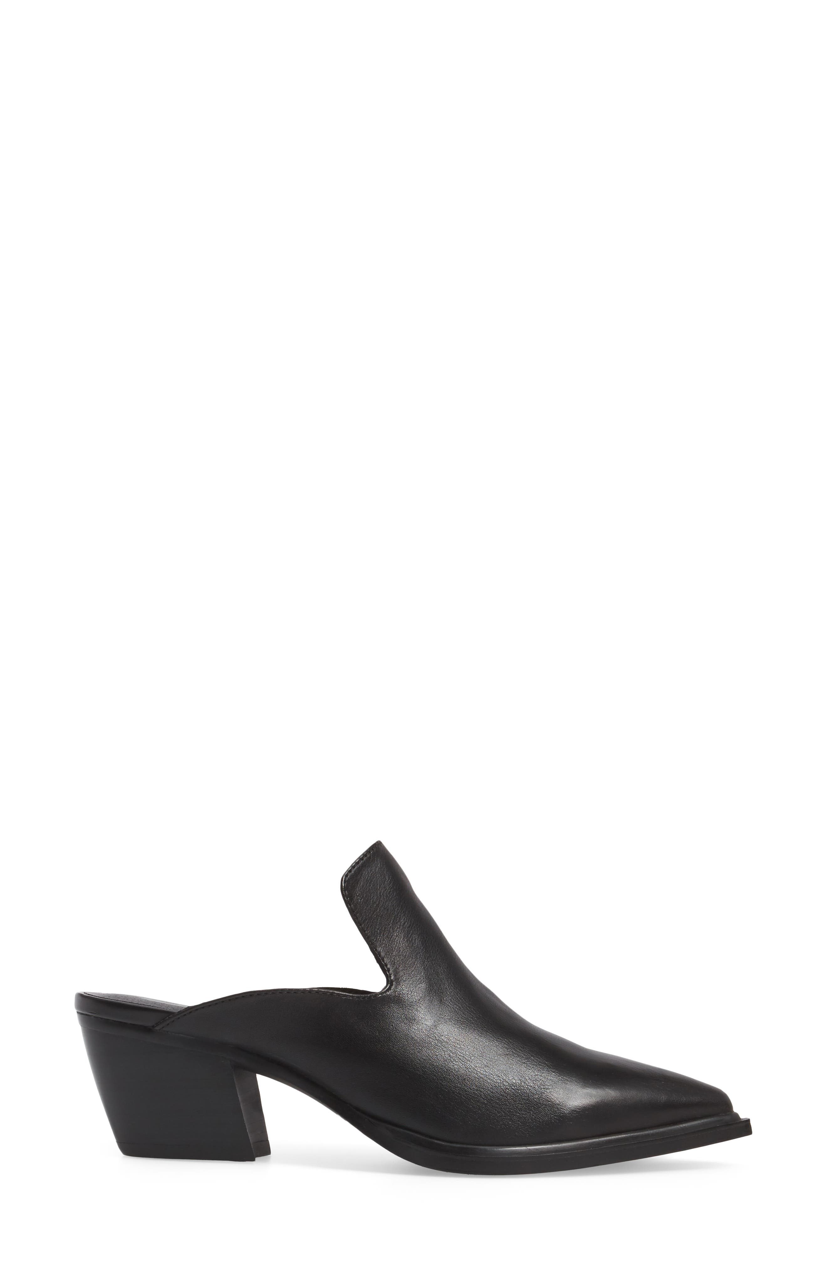 Mulah Pointy Toe Mule,                             Alternate thumbnail 3, color,                             Black Leather