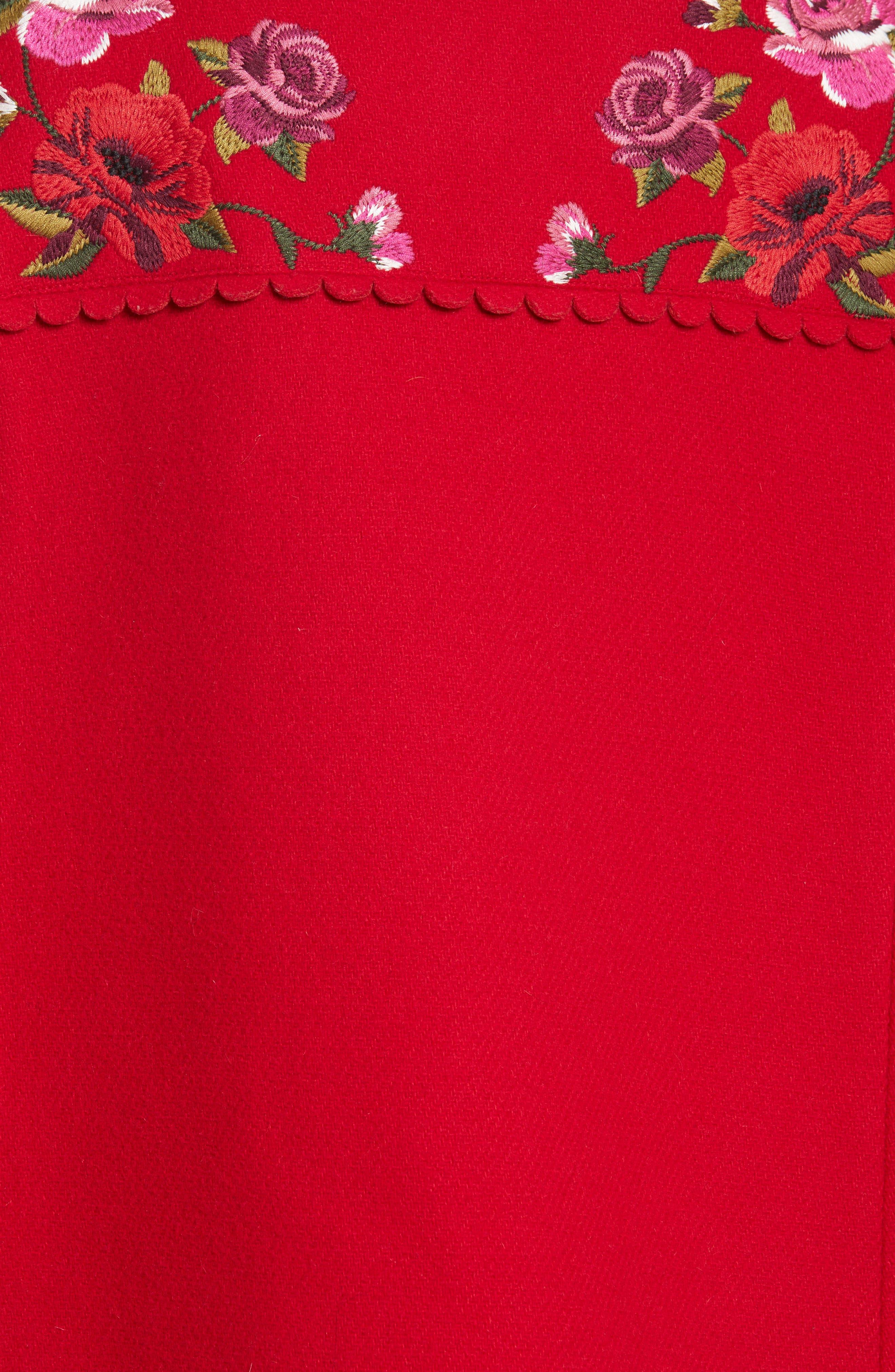 mari wool blend cape,                             Alternate thumbnail 5, color,                             Charm Red