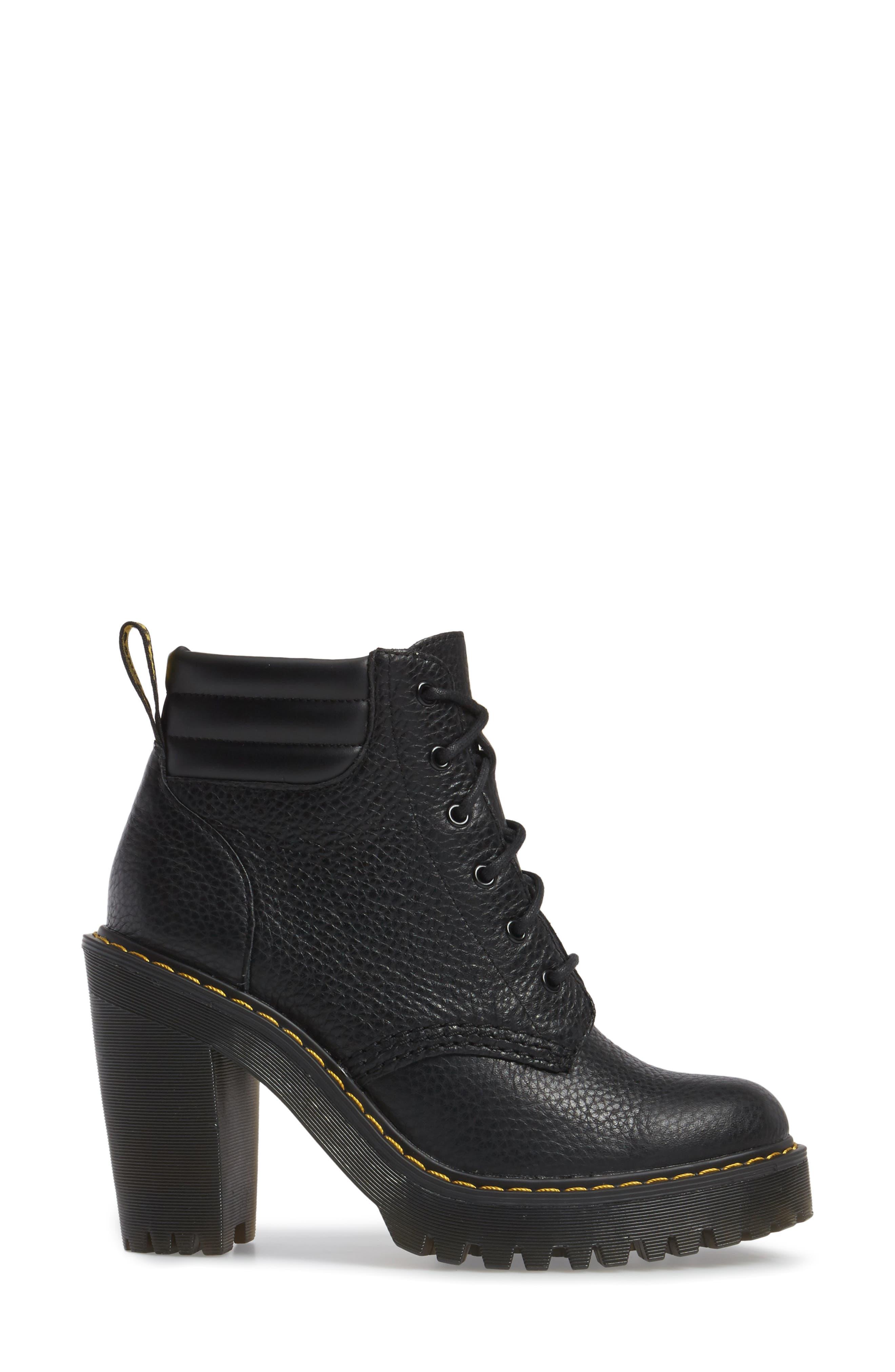 Persephone Platform Boot,                             Alternate thumbnail 3, color,                             Black Leather