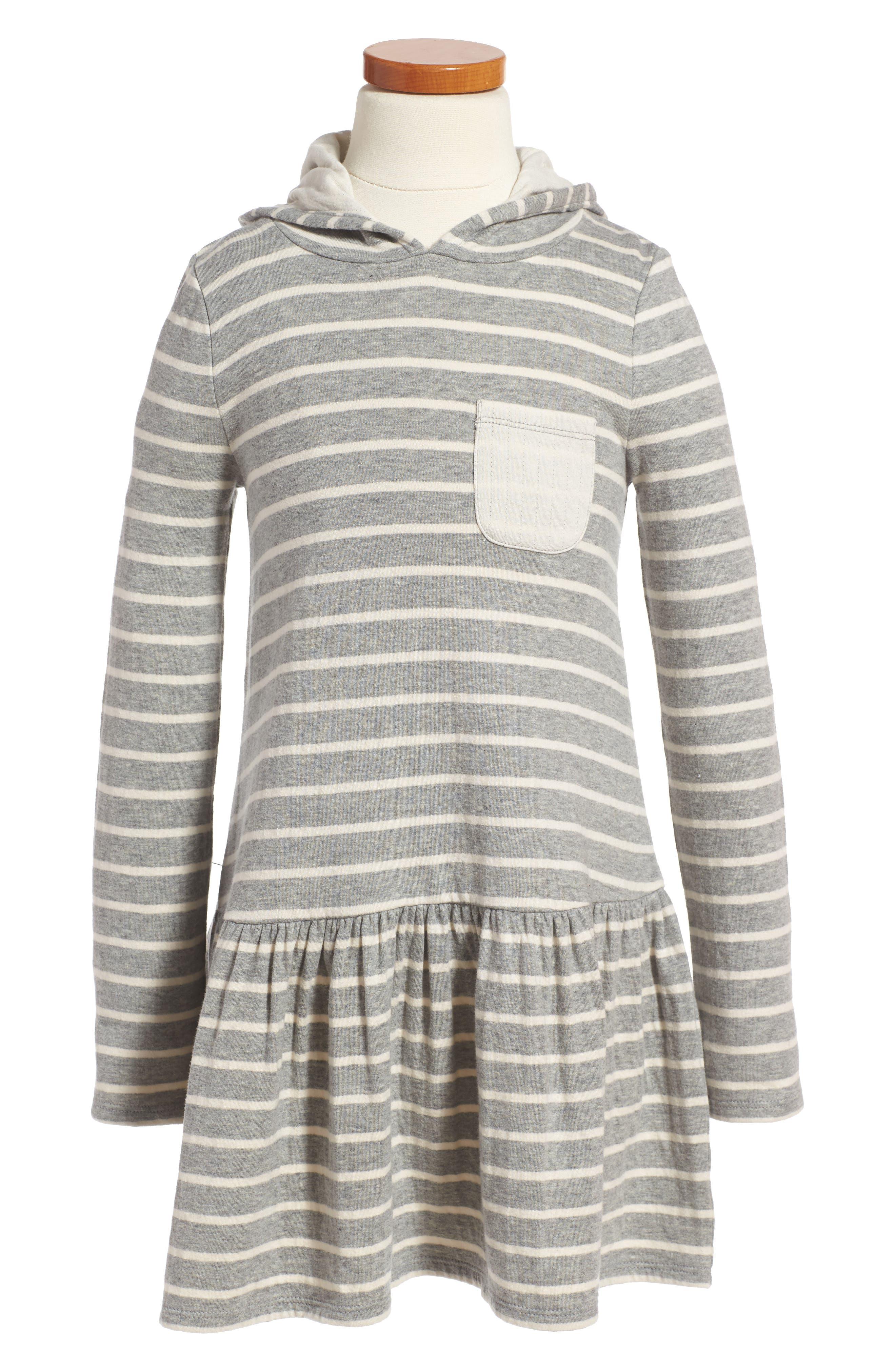 Stripe Hoodie Knit Dress,                         Main,                         color, Grey Medium Heather- Ivory