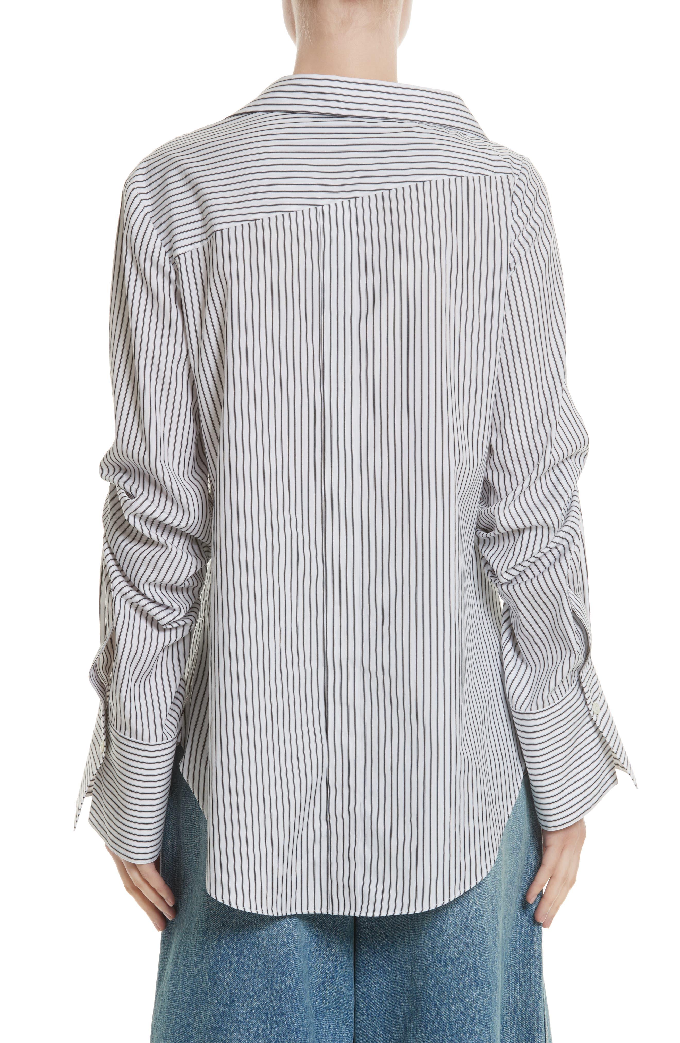 Grommet Scrunch Sleeve Shirt,                             Alternate thumbnail 2, color,                             Blue/ White