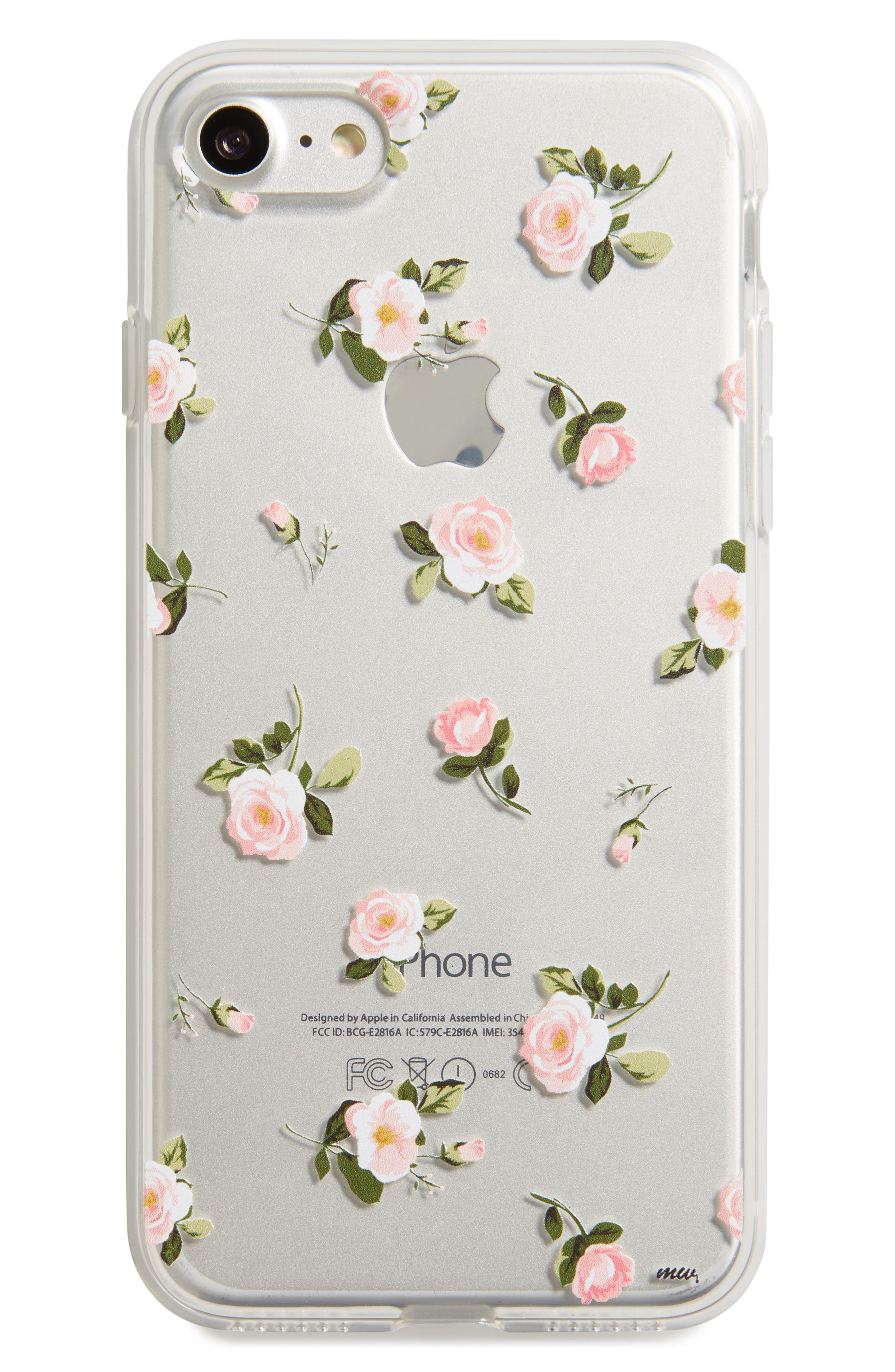 Floral iPhone 7 Case,                             Main thumbnail 1, color,                             Clear/ Pink