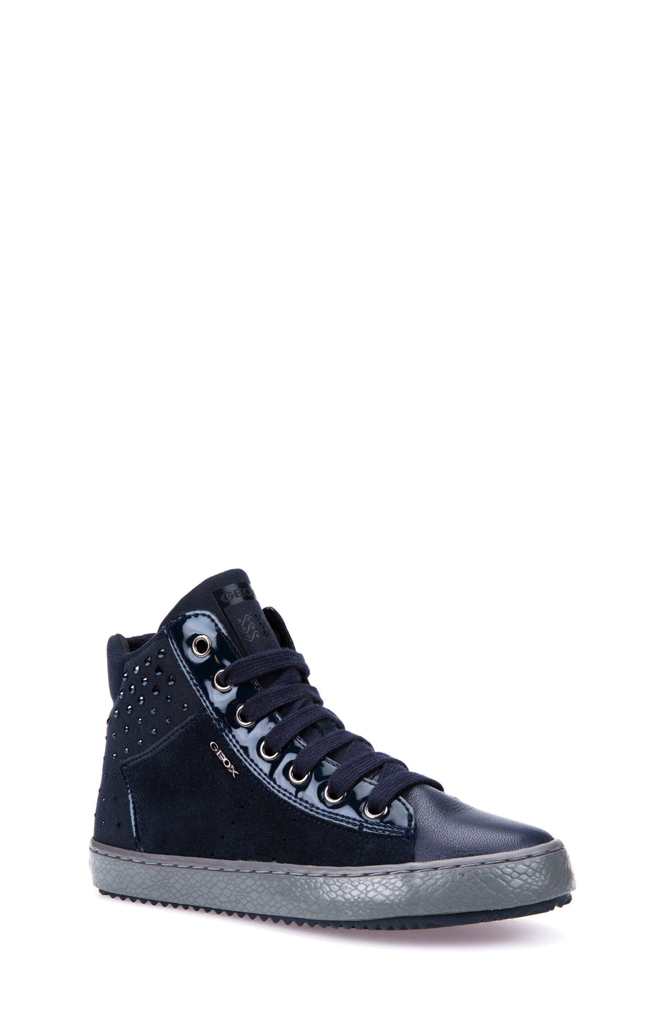 Alternate Image 1 Selected - Geox Kalispera Girl Embellished High Top Sneaker (Toddler, Little Kid & Big Kid)