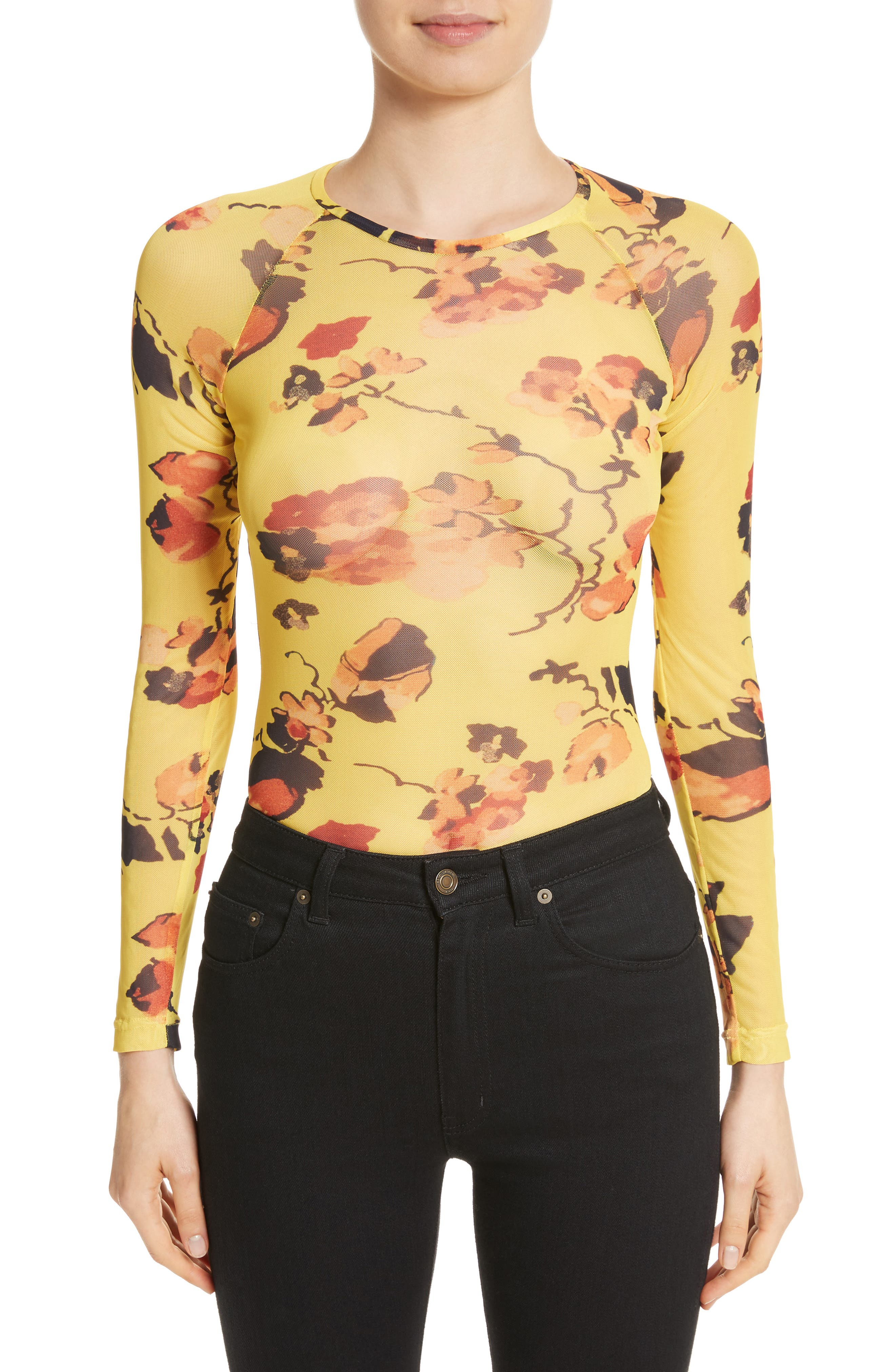 Spike Floral Mesh Top,                         Main,                         color, Yellow