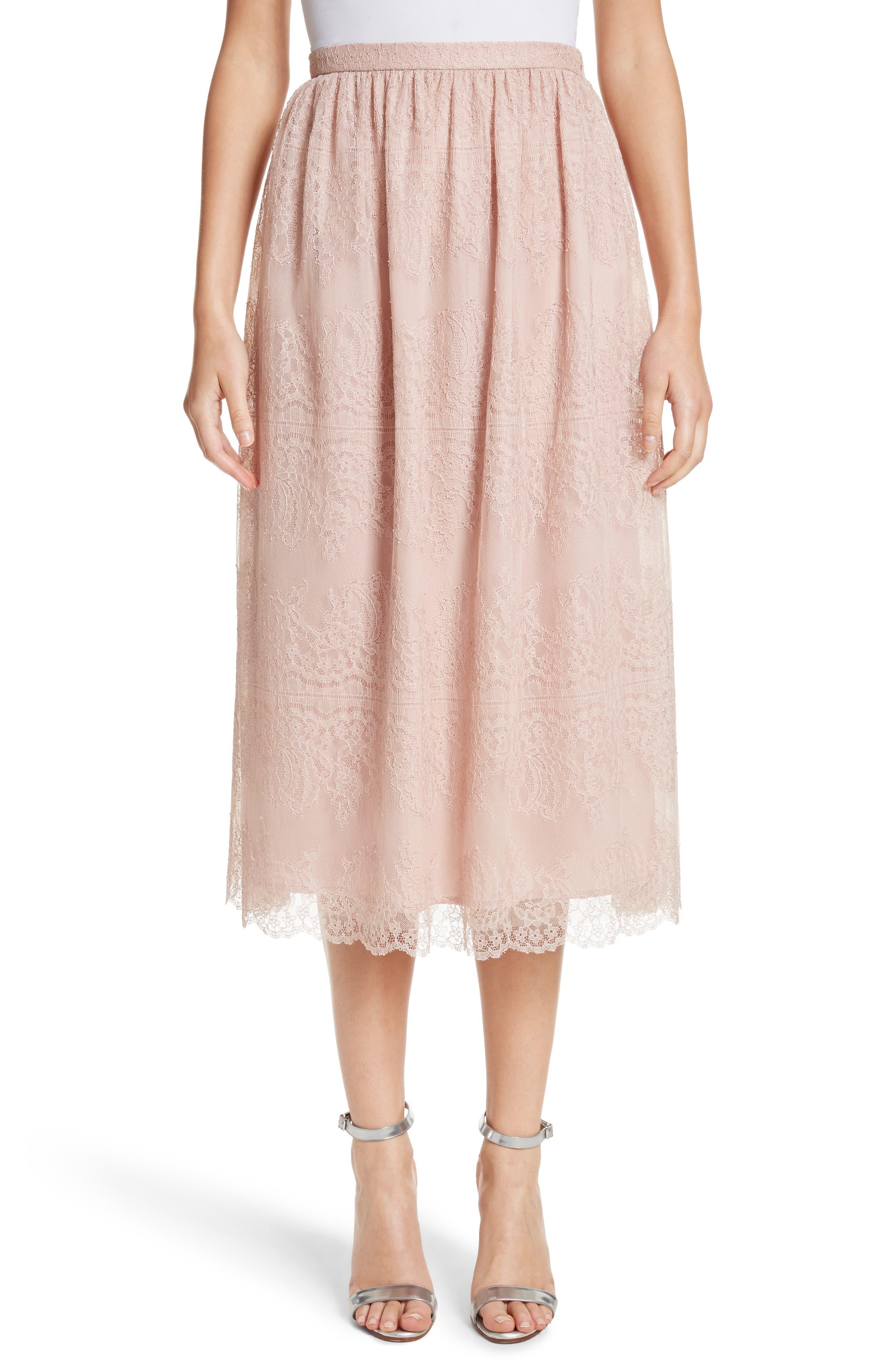 Chantilly Lace Gathered Skirt,                             Main thumbnail 1, color,                             Powder