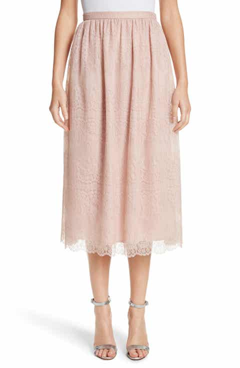 St. John Collection Chantilly Lace Gathered Skirt