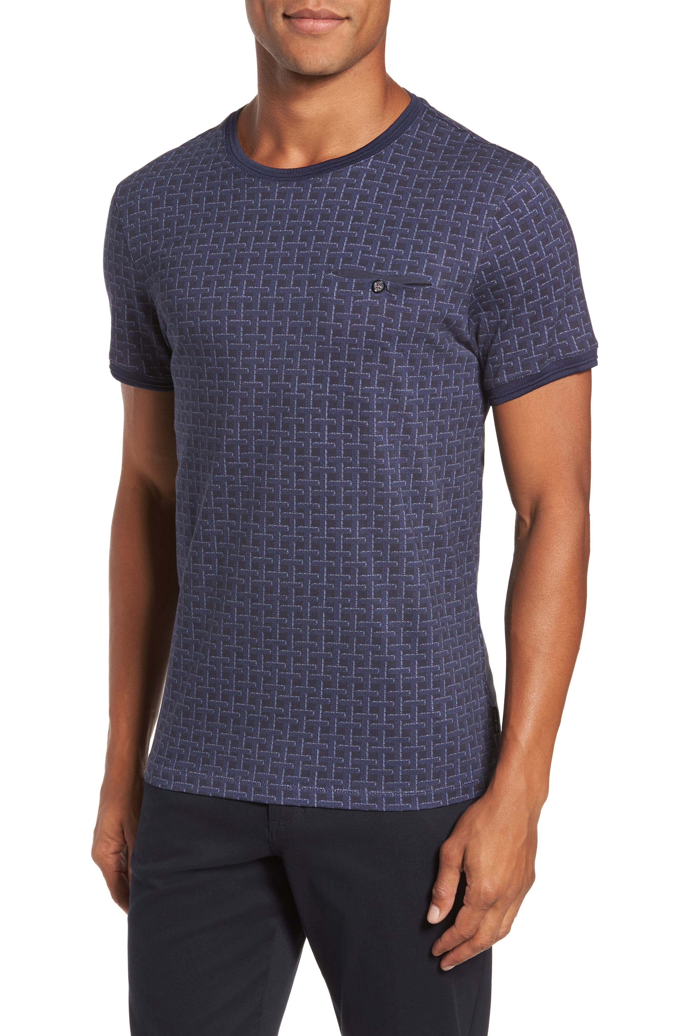 Hillman Print Pocket T-Shirt,                         Main,                         color, Mid Blue